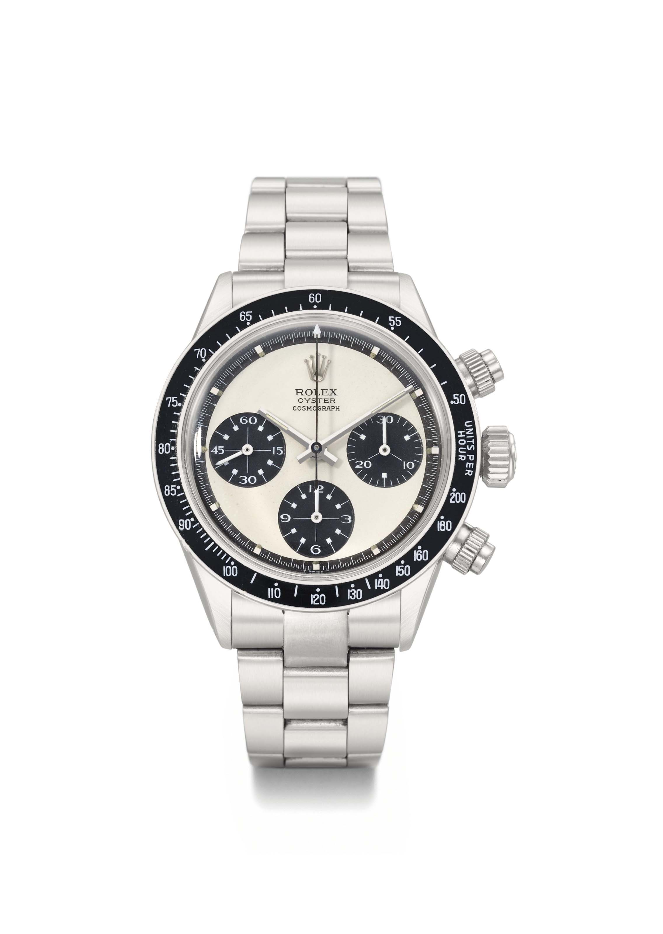 Rolex. A very rare and highly attractive stainless steel chronograph wristwatch with bracelet