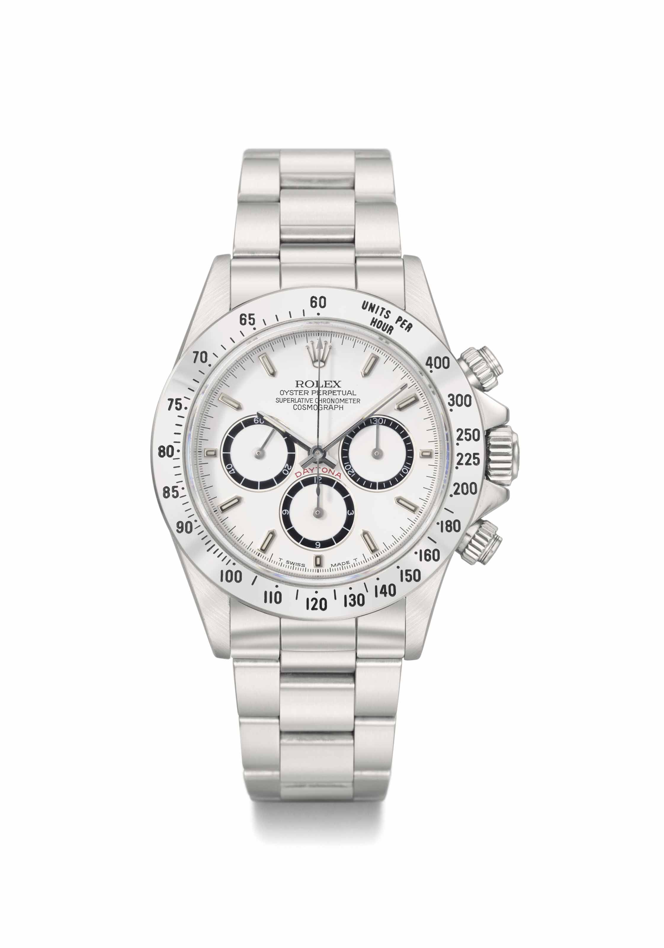 Rolex. A rare and historically important stainless steel automatic chronograph wristwatch with bracelet, original guarantee and box