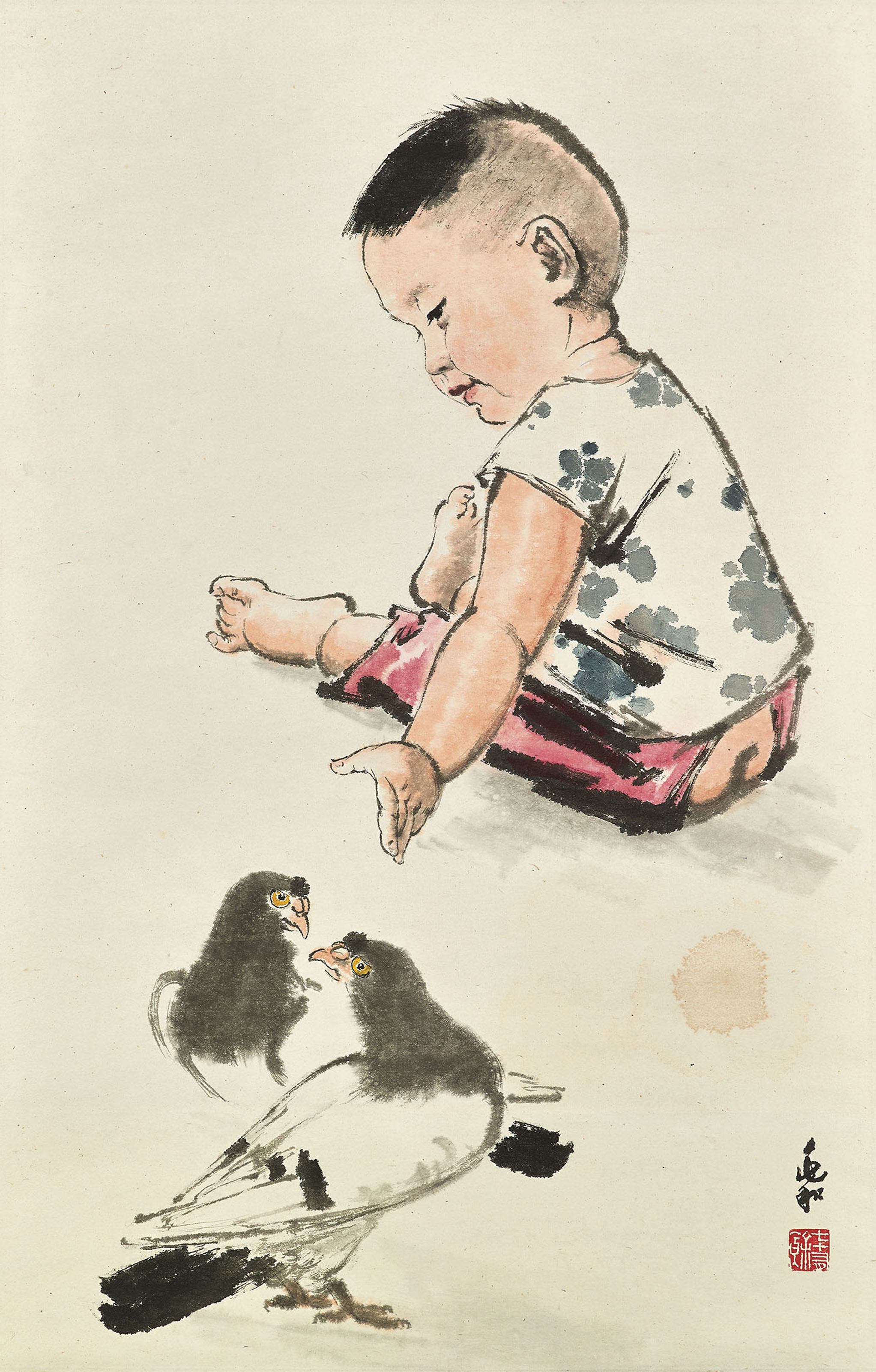 Child and Doves
