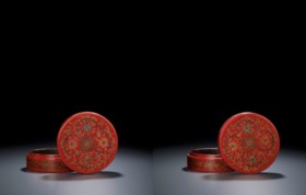 A PAIR OF QIANGJIN AND TIANQI LACQUER CIRCULAR BOXES AND COV
