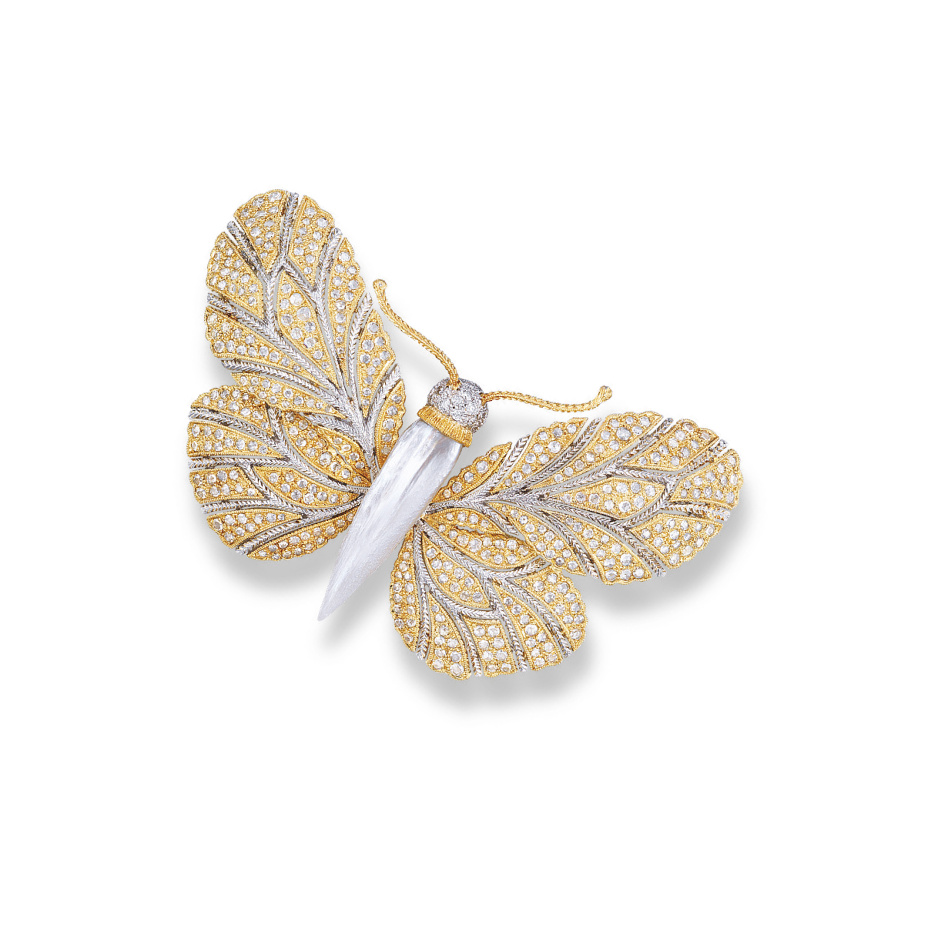 A MOTHER-OF-PEARL AND DIAMOND BROOCH, BY BUCCELLATI