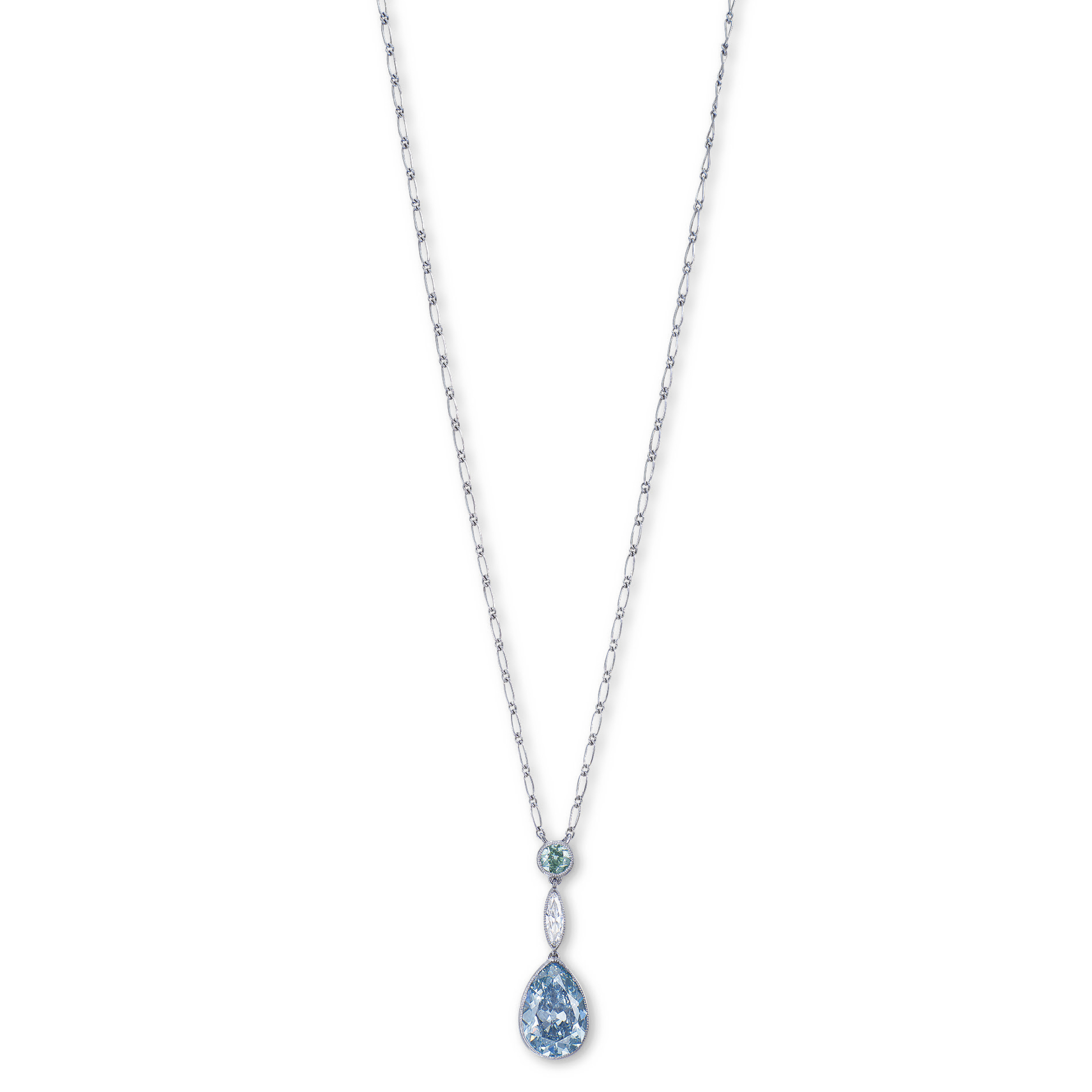 AN UNIQUE COLOURED DIAMOND AND DIAMOND PENDENT NECKLACE, BY TIFFANY & CO.