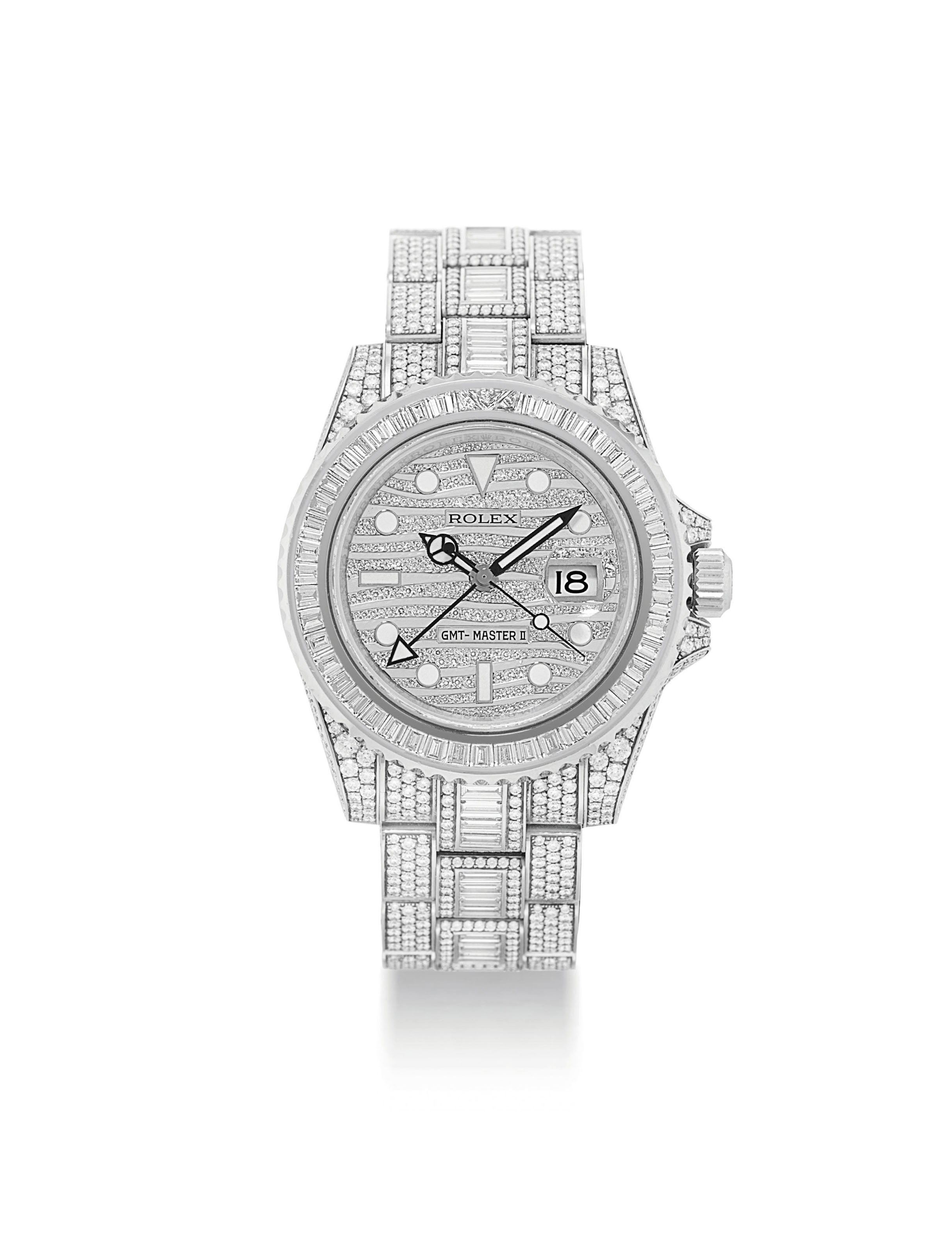 ROLEX. AN IMPRESSIVE AND VERY RARE 18K WHITE GOLD AND DIAMOND-SET AUTOMATIC DUAL TIME WRISTWATCH WITH SWEEP CENTRE SECONDS, DATE AND BRACELET