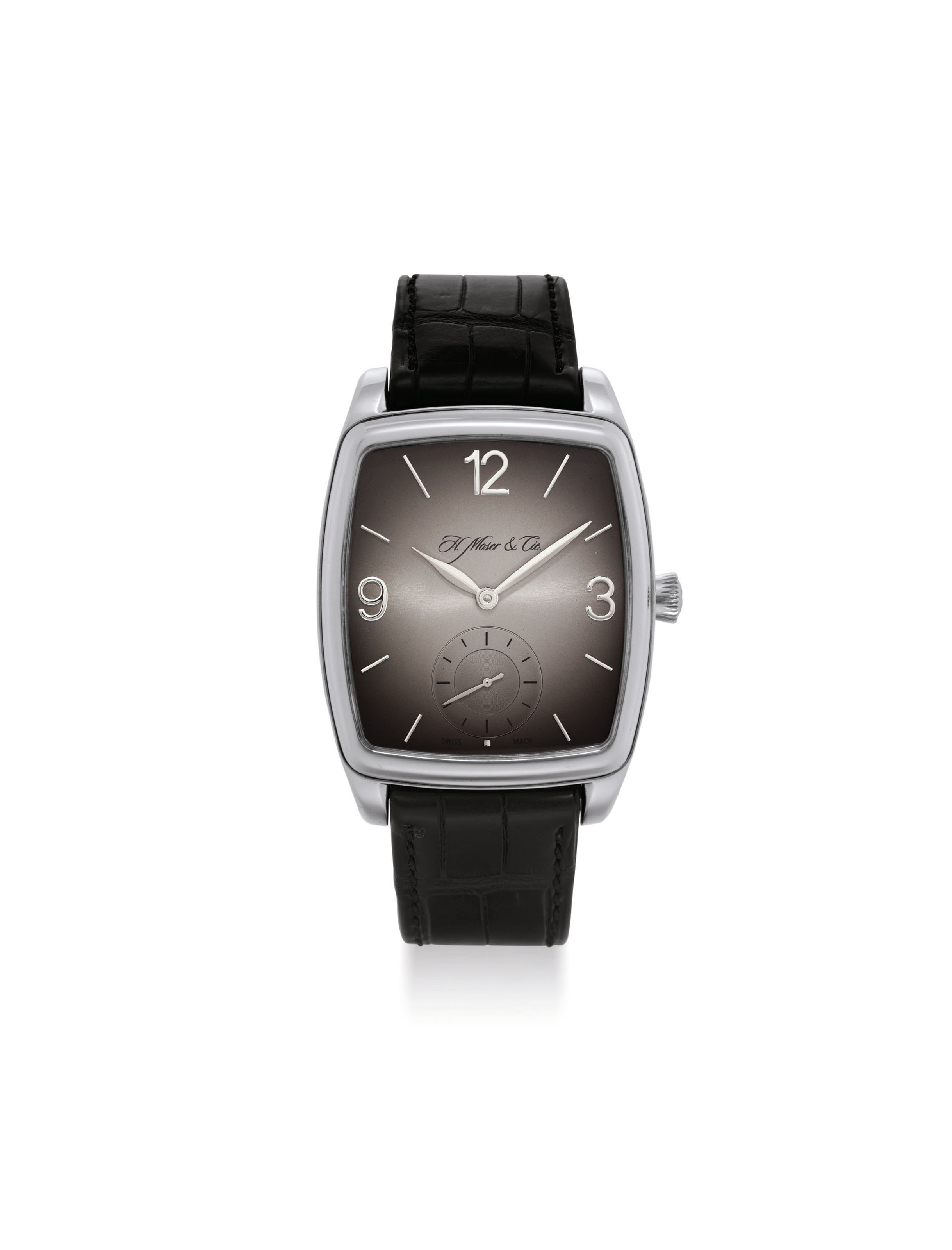 H. MOSER & CIE. A FINE PALLADIUM TONNEAU-SHAPED WRISTWATCH WITH POWER RESERVE AND HACK FEATURE