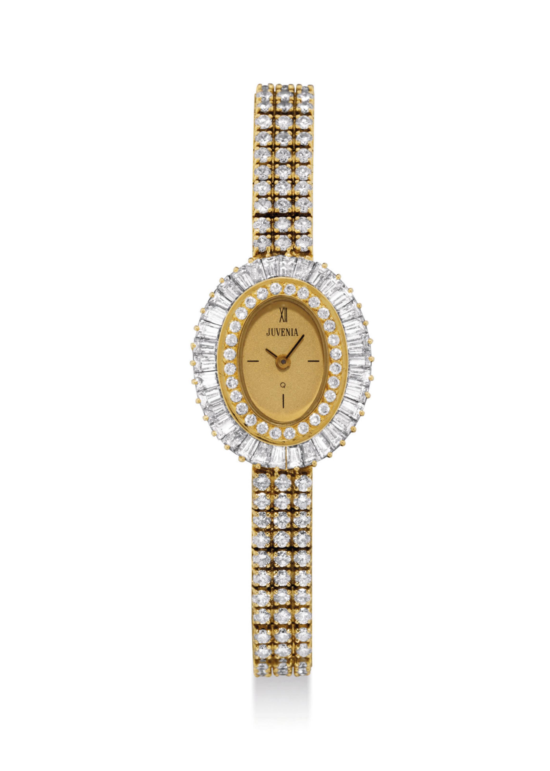 JUVENIA. A LADY'S 18K GOLD AND DIAMOND-SET OVAL BRACELET WATCH