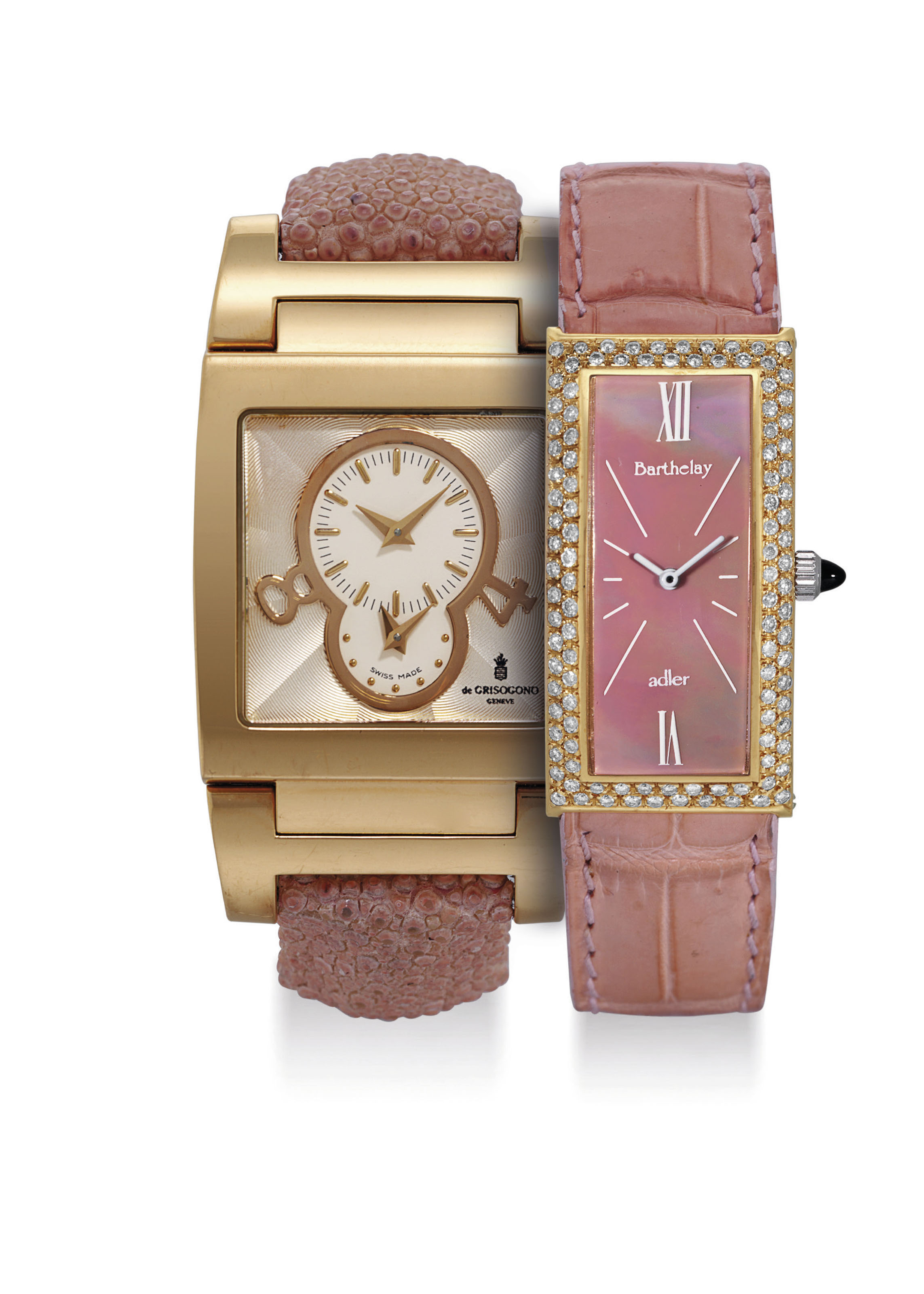 BARTHELAY AND DE GRISOGONO. A LADY'S GOLD PLATED AND DIAMOND-SET RECTANGULAR WRISTWATCH WITH MOTHER-OF-PEARL DIAL AND A LADY'S 18K PINK GOLD SQUARE AUTOMATIC DUAL TIME WRISTWATCH