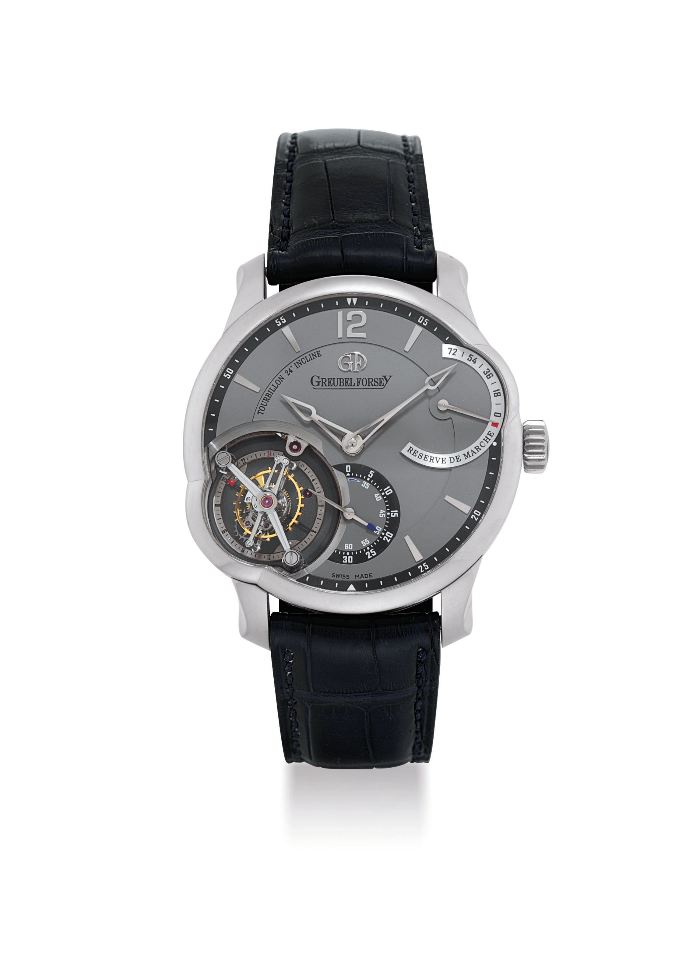 GREUBEL FORSEY. A FINE, LARGE AND VERY RARE 18K WHITE GOLD 24 SECONDS INCLINED TOURBILLON WRISTWATCH WITH 72 HOURS POWER RESERVE