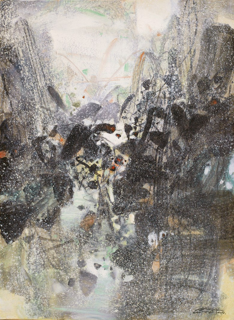 Chu Teh-Chun, Evocation Hivernale A, painted in 1988. 100 x 73  cm. Sold for HK$14,440,000 on 23 November 2013 at Christie's in Hong Kong
