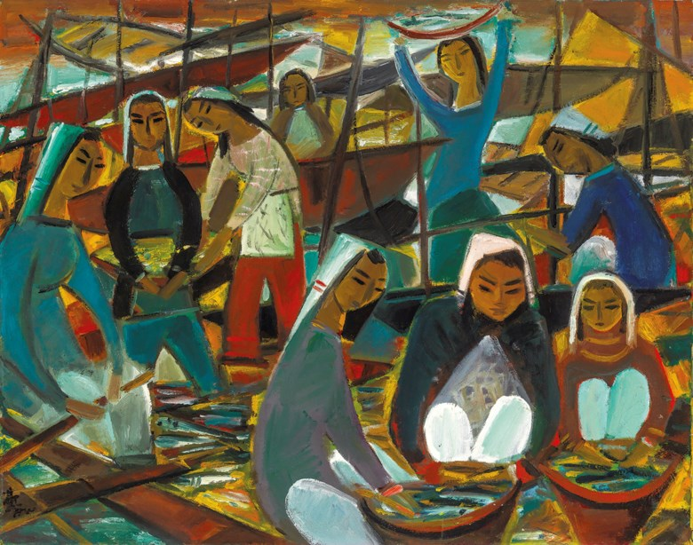 Lin Fengmian (1900-91), Fishing Harvest. Oil on canvas. 73 x 92.5  cm (28 1116 x 36⅜  in). Sold for HK$21,400,000 on 23 November 2013 at Christie's in Hong Kong