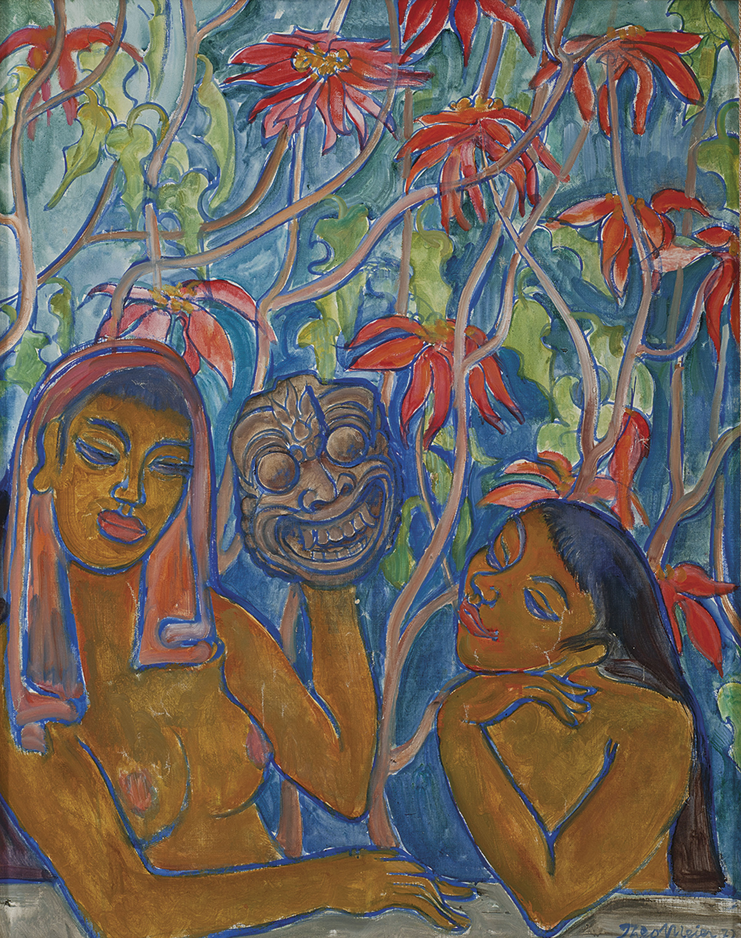 Two Women in a Garden with a Balinese Mask