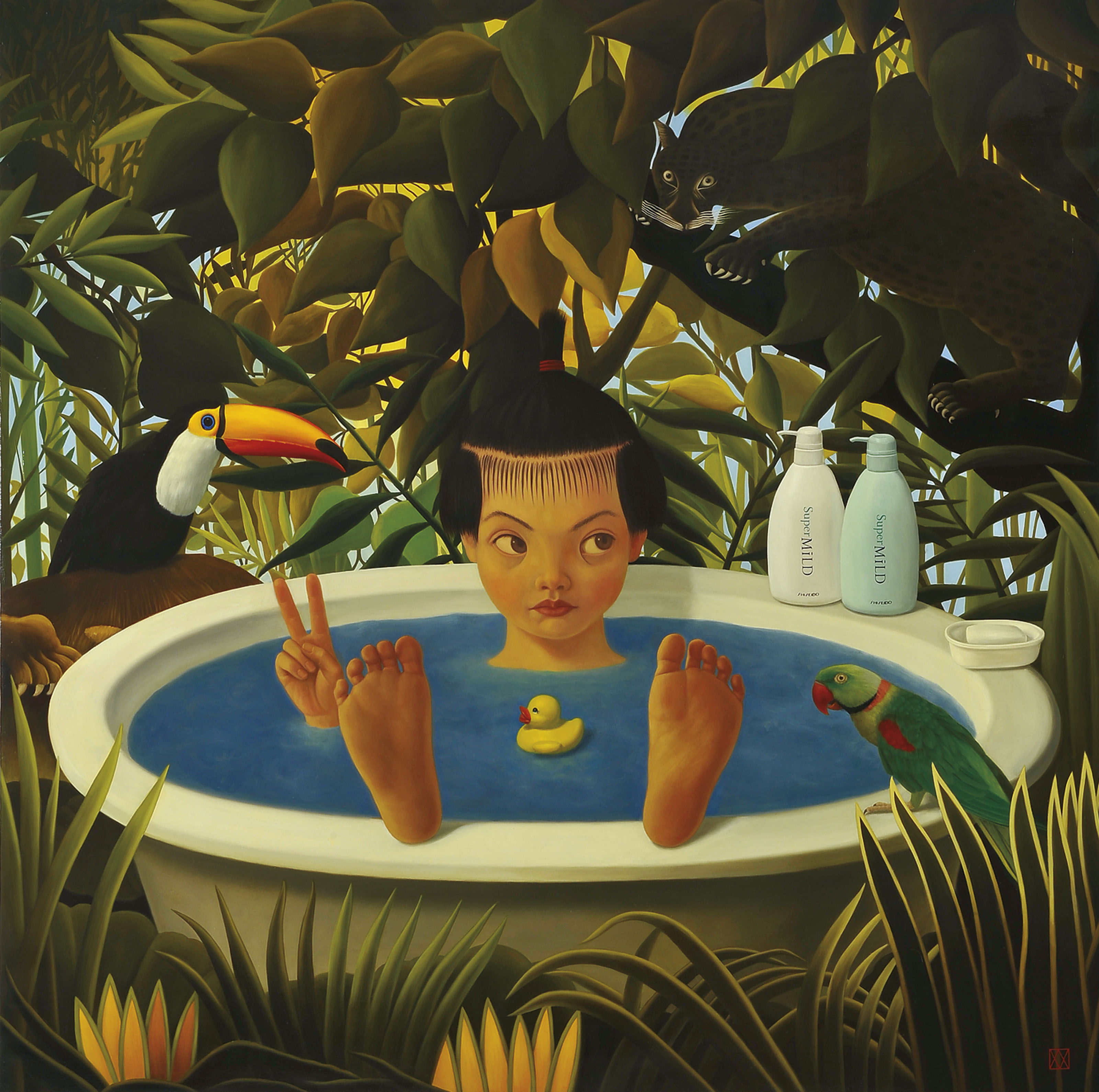 In the Rousseau's forest  Naoko takes a bath