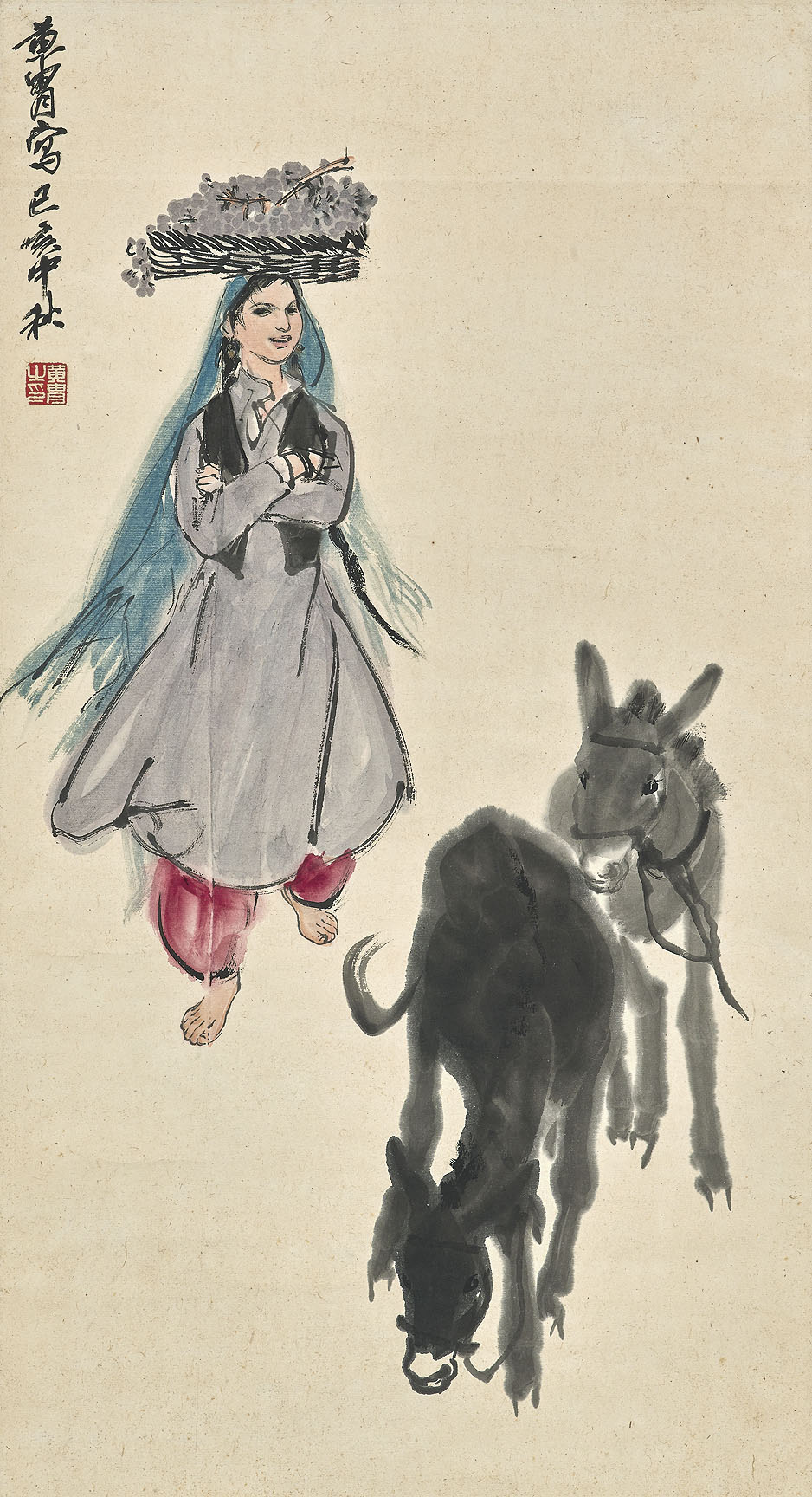 Young Girl and Donkeys