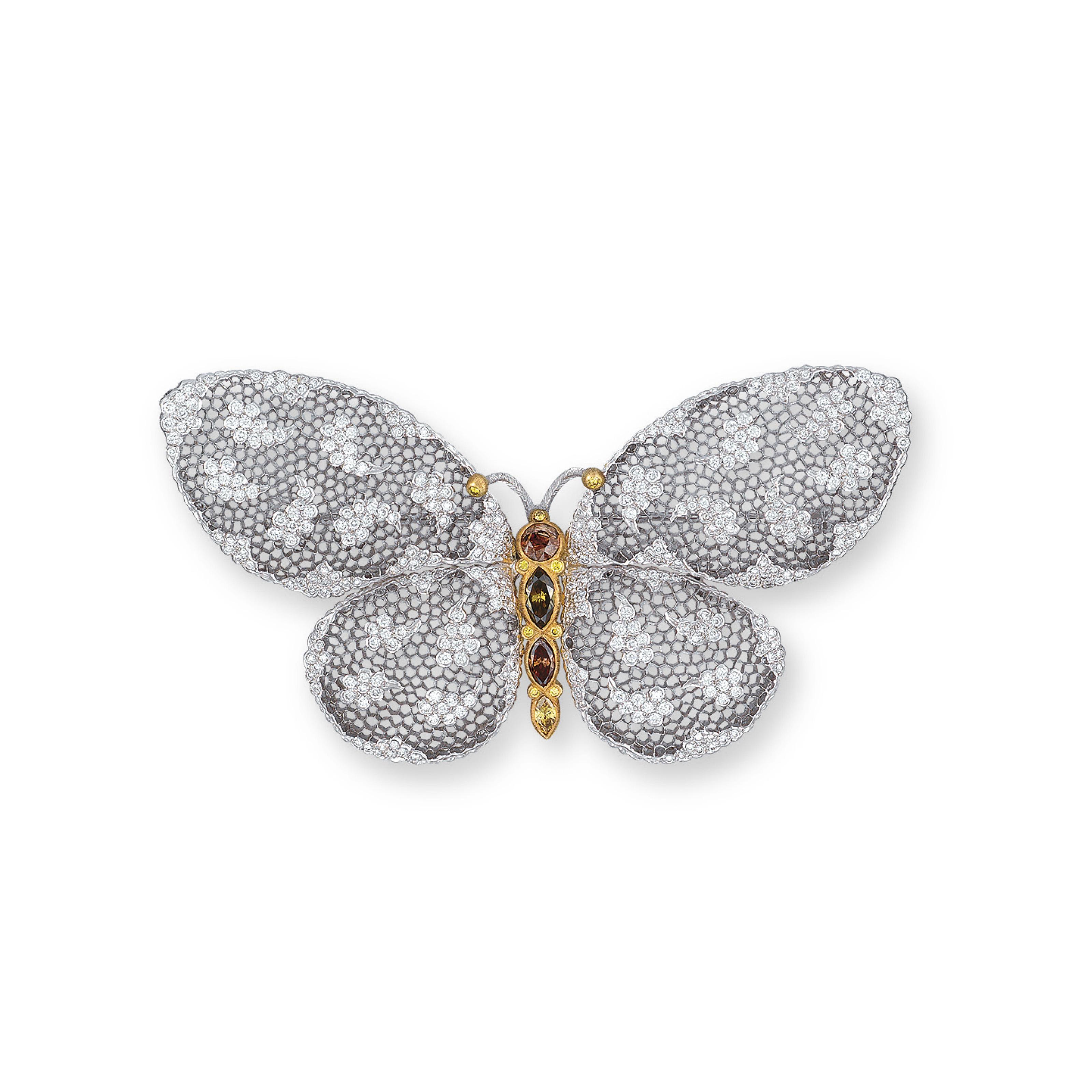 A DIAMOND AND COLOURED DIAMOND BROOCH, BY BUCCELLATI