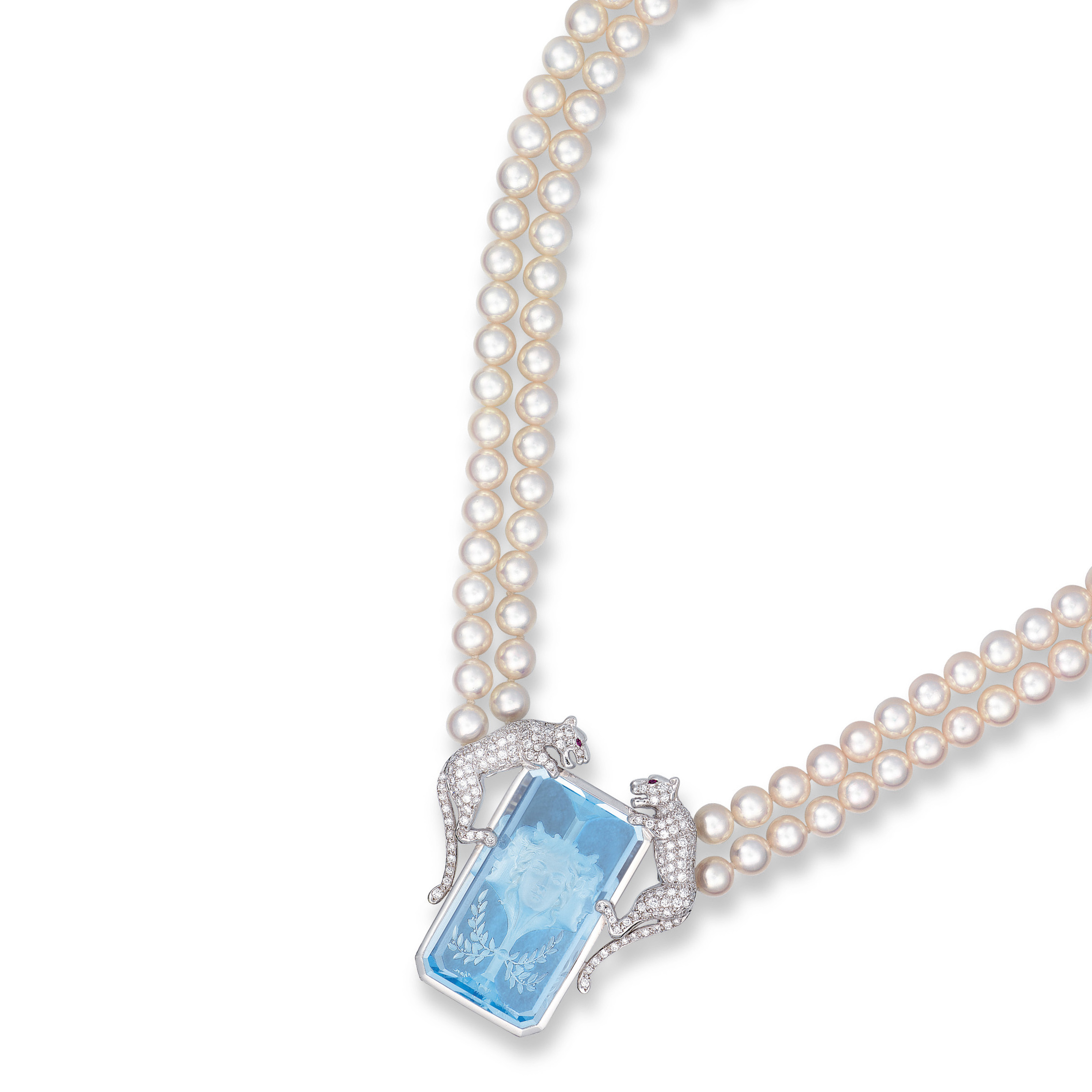 Blue Topaz And Pearl Necklace: A BLUE TOPAZ, DIAMOND, CULTURED PEARL AND RUBY NECKLACE