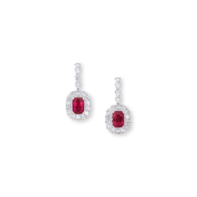 A PAIR OF SPINEL AND DIAMOND E