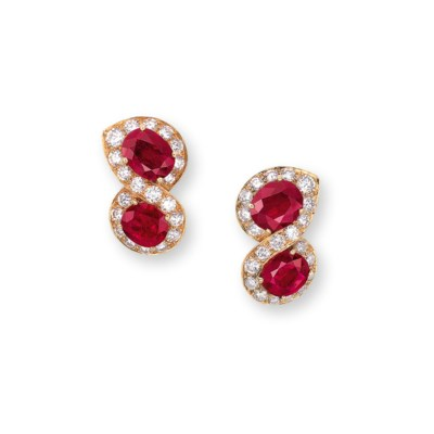 A PAIR OF RUBY AND DIAMOND EAR