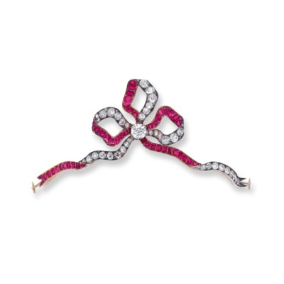 A RARE RUBY AND DIAMOND TIARA/