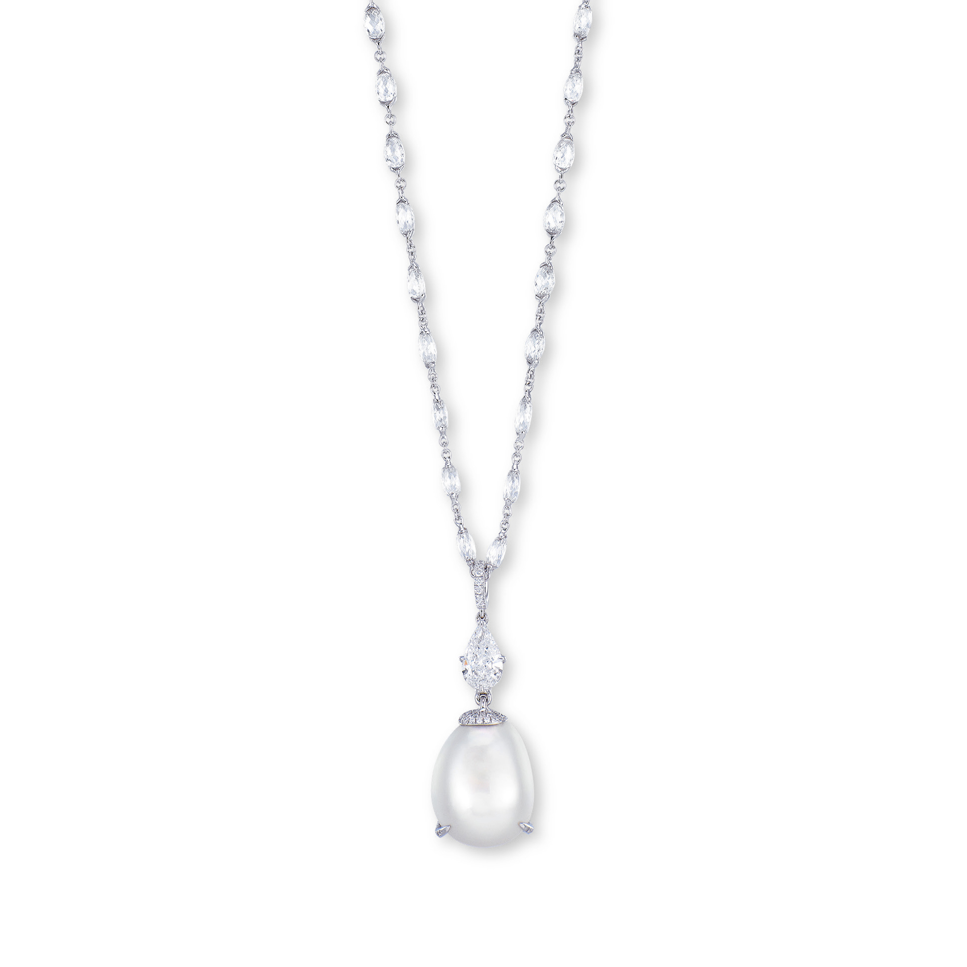 A NATURAL PEARL AND DIAMOND PENDENT NECKLACE, BY ETCETERA FOR PASPALEY