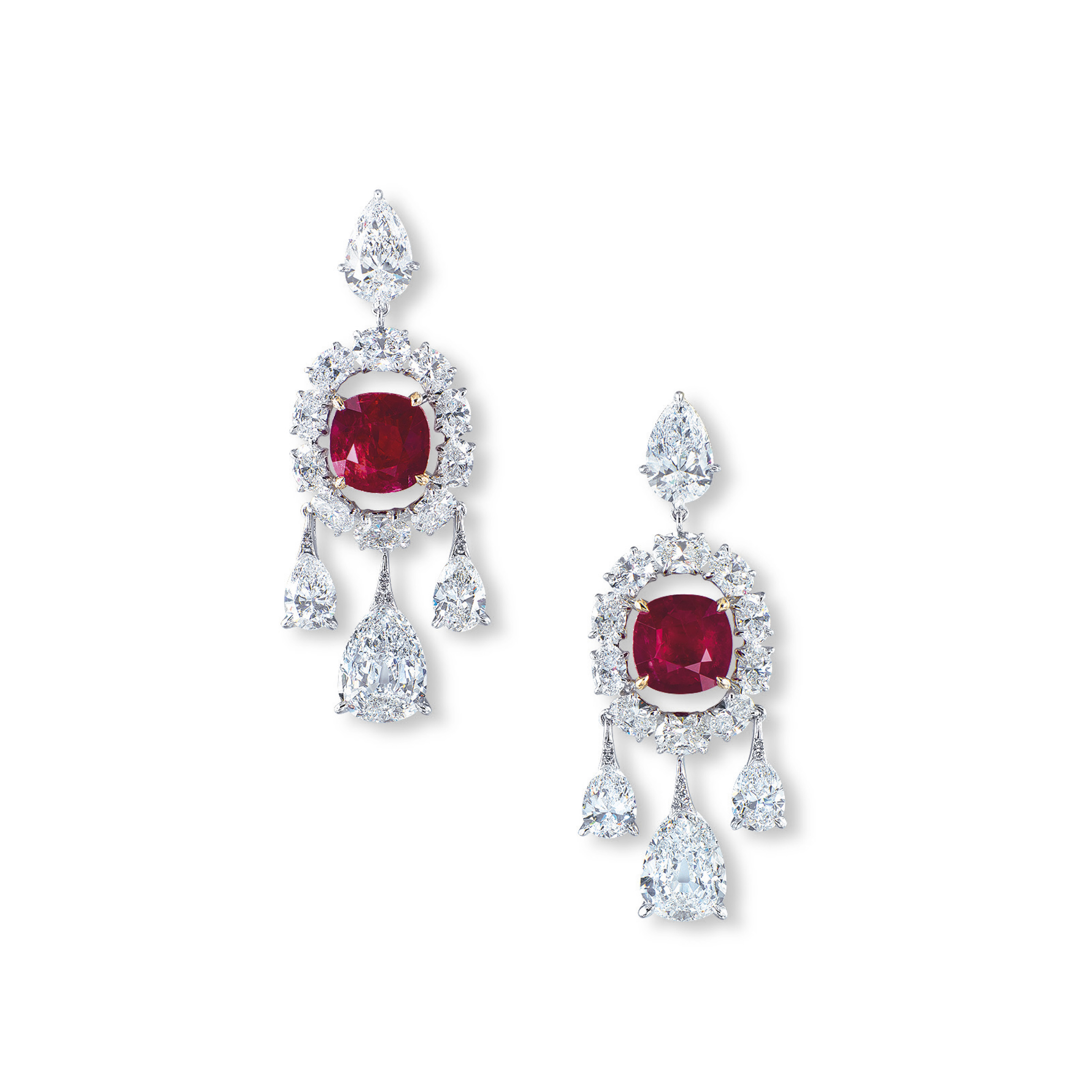 A MAGNIFICENT PAIR OF RUBY AND DIAMOND EAR PENDANTS, BY ETCETERA