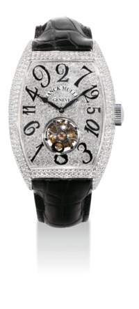 FRANCK MULLER. A VERY FINE AND RARE 18K WHITE GOLD AND DIAMOND-SET TONNEAU-SHAPED TOURBILLON WRISTWATCH WITH CRAZY HOURS