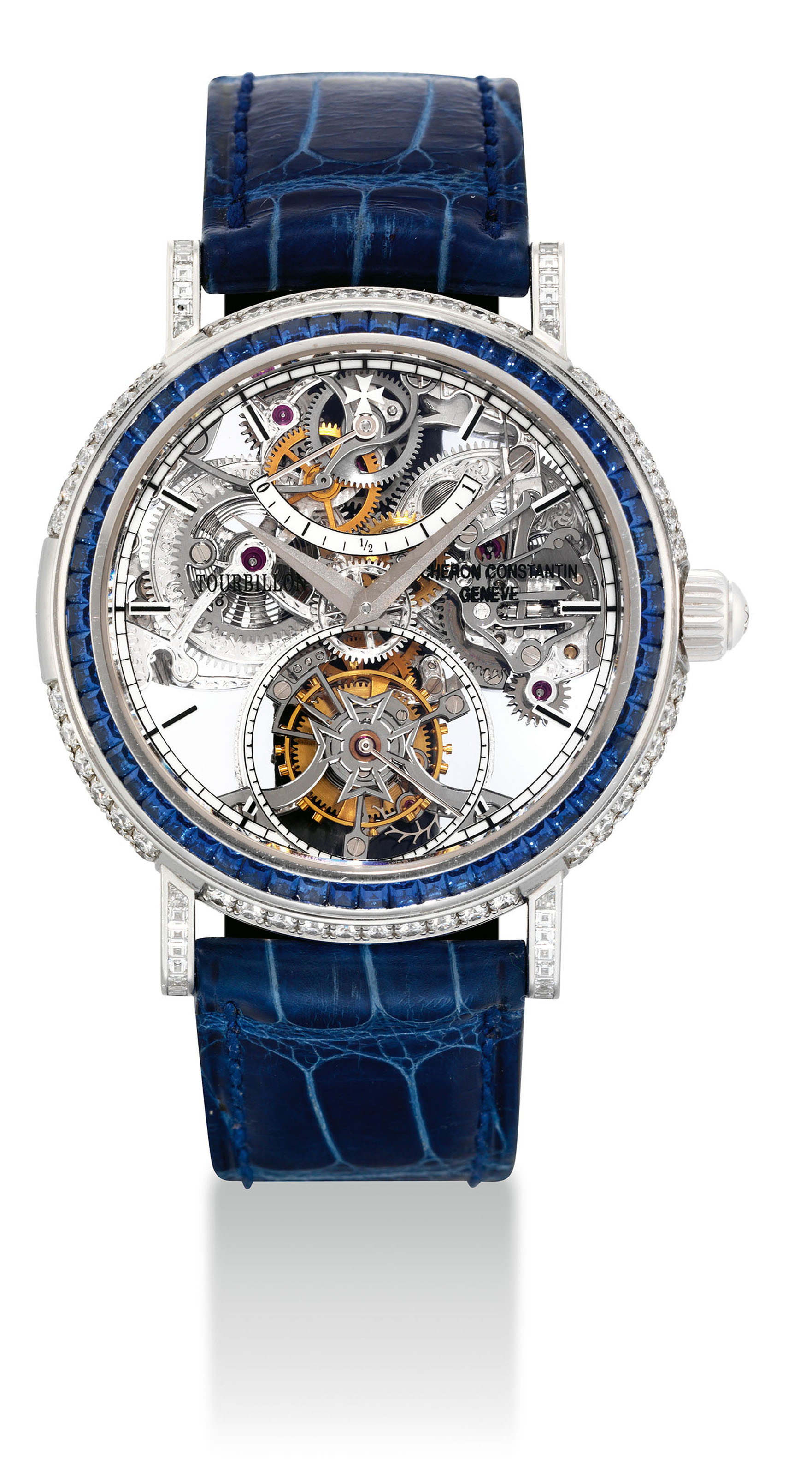 VACHERON CONSTANTIN. A VERY FINE AND UNIQUE PLATINUM, DIAMOND AND SAPPHIRE-SET SKELETONISED TOURBILLON WRISTWATCH WITH POWER RESERVE