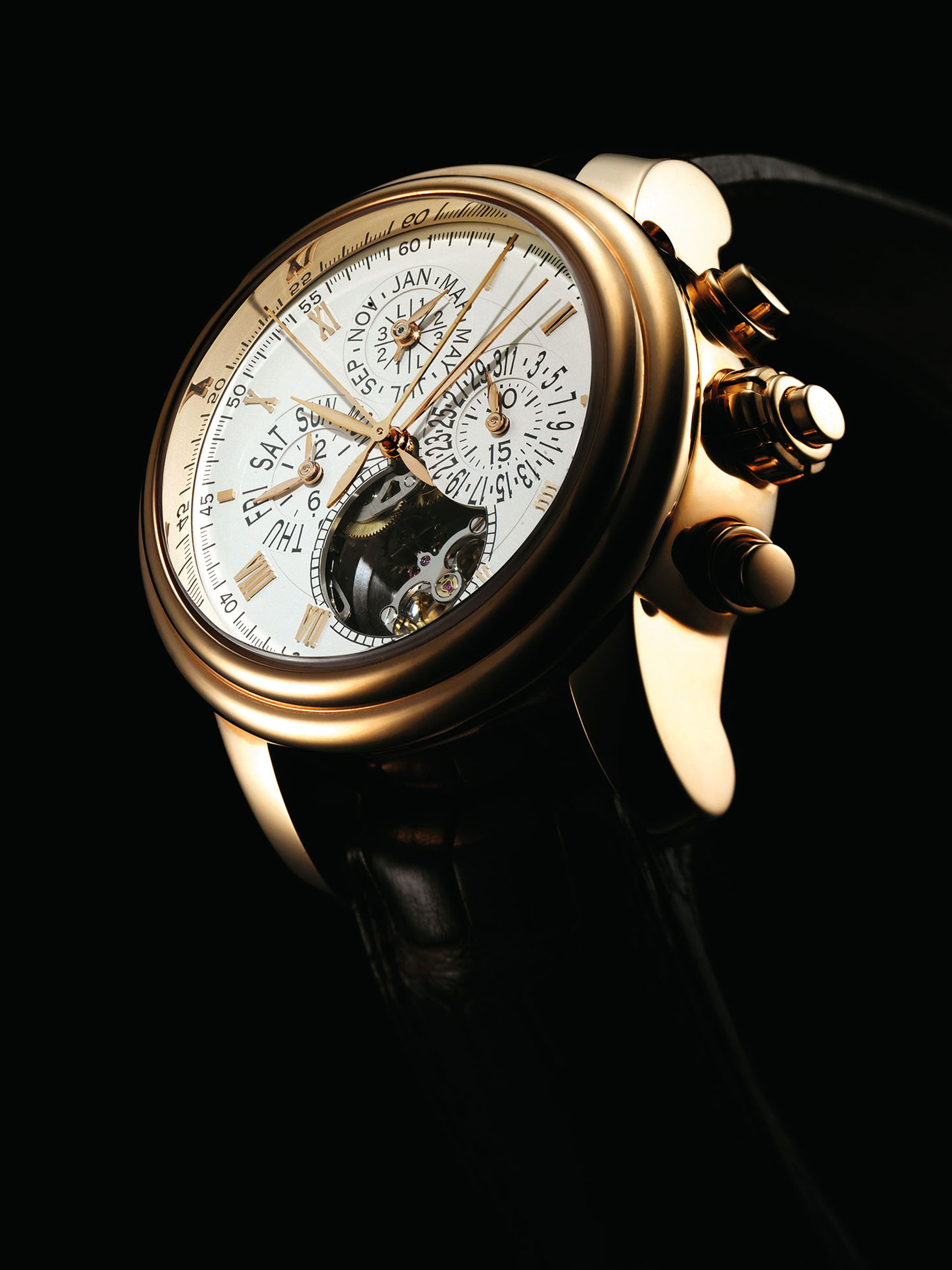 BLANCPAIN. A VERY FINE, RARE AND LARGE 18K PINK GOLD AUTOMATIC PERPETUAL CALENDAR SPLIT SECONDS FLYBACK CHRONOGRAPH TOURBILLON WRISTWATCH WITH LEAP YEAR INDICATION
