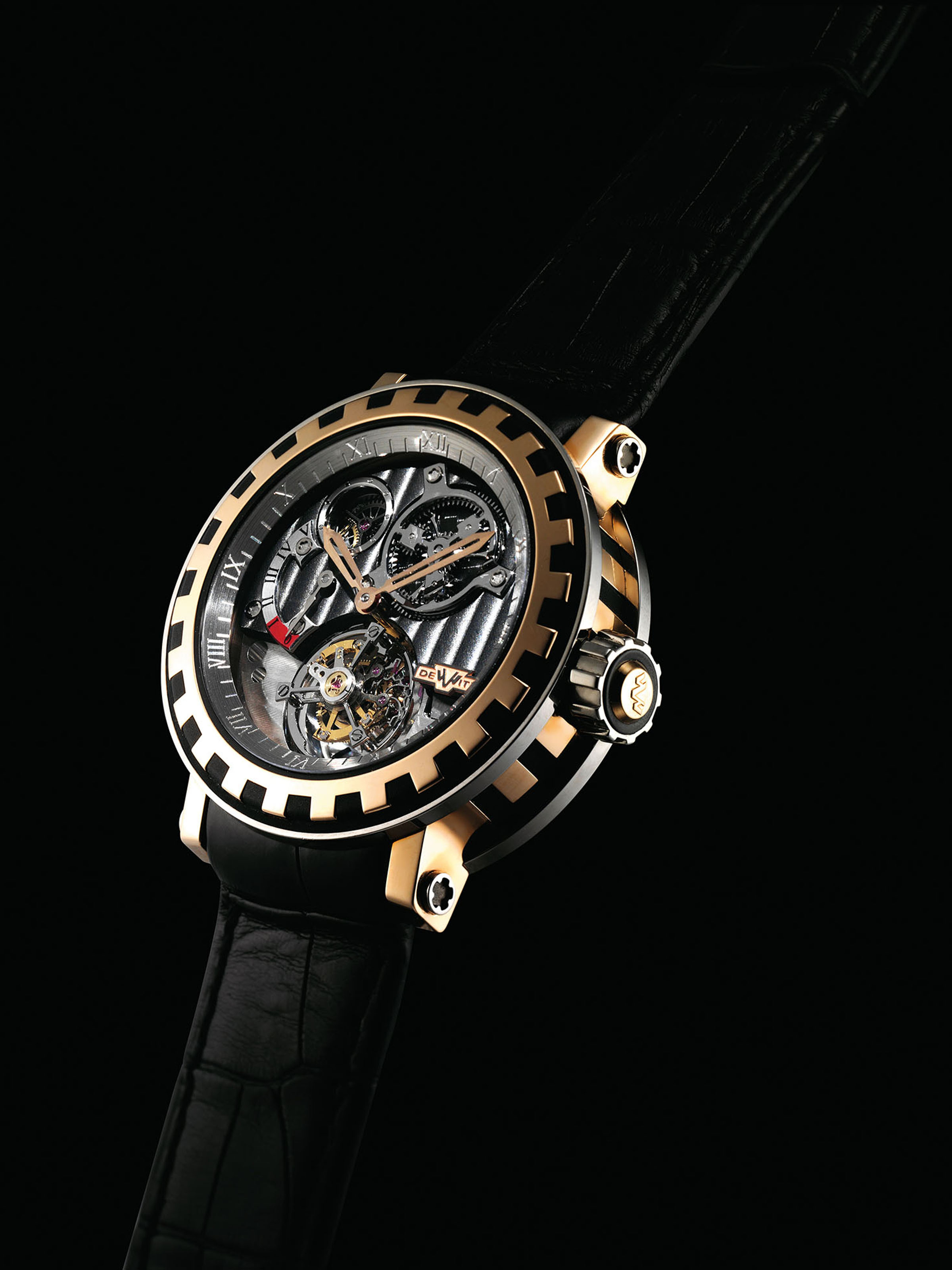 DEWITT. A FINE AND RARE 18K TWO-COLOUR GOLD AND RUBBER-SET LIMITED EDITION SEMI-SKELETONISED TOURBILLON WRISTWATCH WITH POWER RESERVE