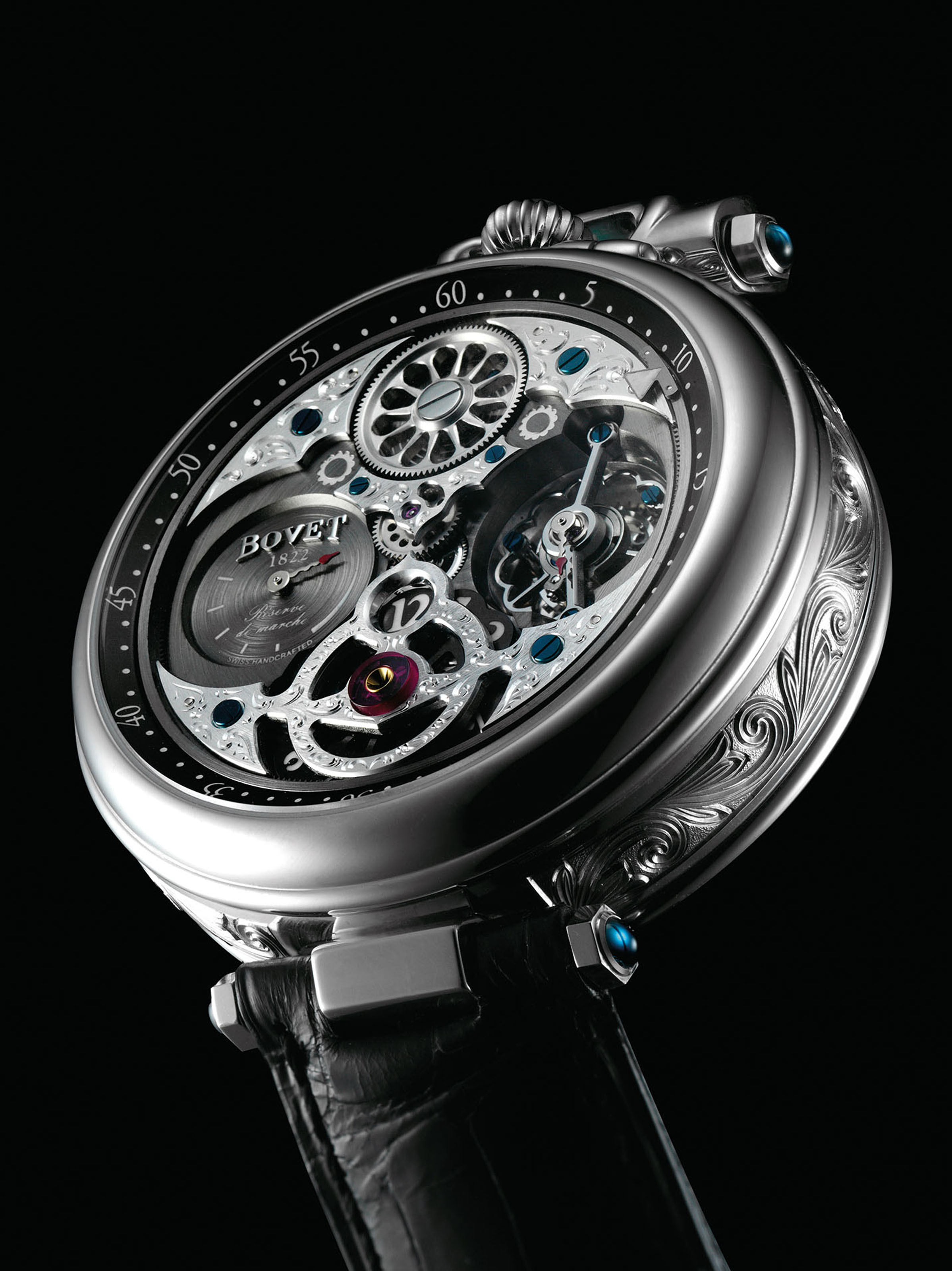 BOVET. A VERY FINE, LARGE AND UNIQUE 18K WHITE GOLD AUTOMATIC SKELETONISED TOURBILLON JUMP HOUR TWIN BARREL WRISTWATCH WITH POWER RESERVE