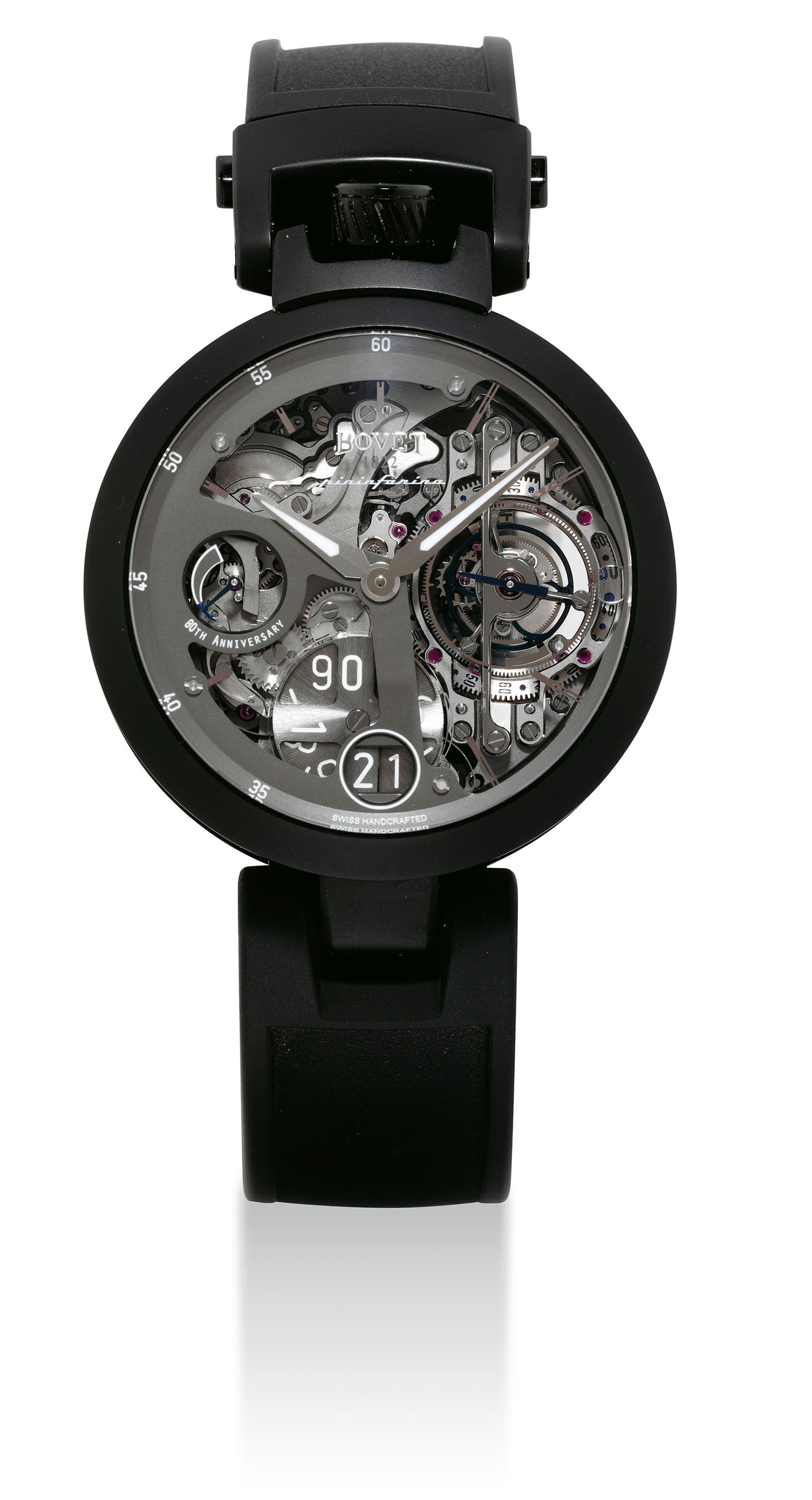 BOVET. A FINE AND RARE TITANIUM AND DLC COATED STAINLESS STEEL LIMITED EDITION AUTOMATIC SEMI-SKELETONISED TOURBILLON CONVERTIBLE TIMEPIECE WITH DATE AND POWER RESERVE, MADE FOR PININFARINA'S 80TH ANNIVERSARY