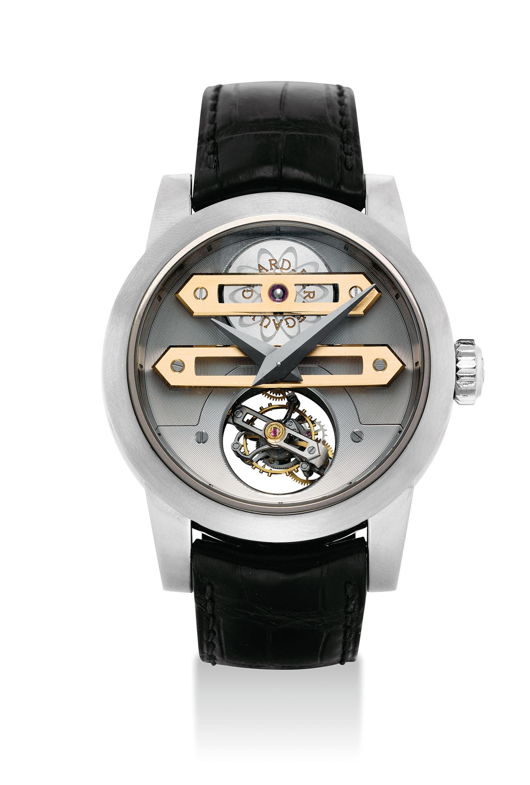 GIRARD-PERREGAUX. A FINE, OVERSIZED AND VERY RARE 18K WHITE GOLD LIMITED EDITION BI-AXIAL TOURBILLON WRISTWATCH WITH ORIGINAL CERTIFICATE AND BOX