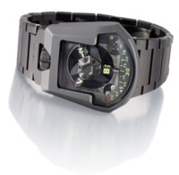 URWERK. A RARE AND UNUSUAL TITANIUM LIMITED EDITION AUTOMATIC WRISTWATCH WITH 3-DIMENSIONAL SATELLITE HOUR DISPLAY, TELESCOPIC MINUTE HAND, TWIN TURBINE SYSTEM, MOON PHASES, DAY/NIGHT INDICATOR AND BRACELET