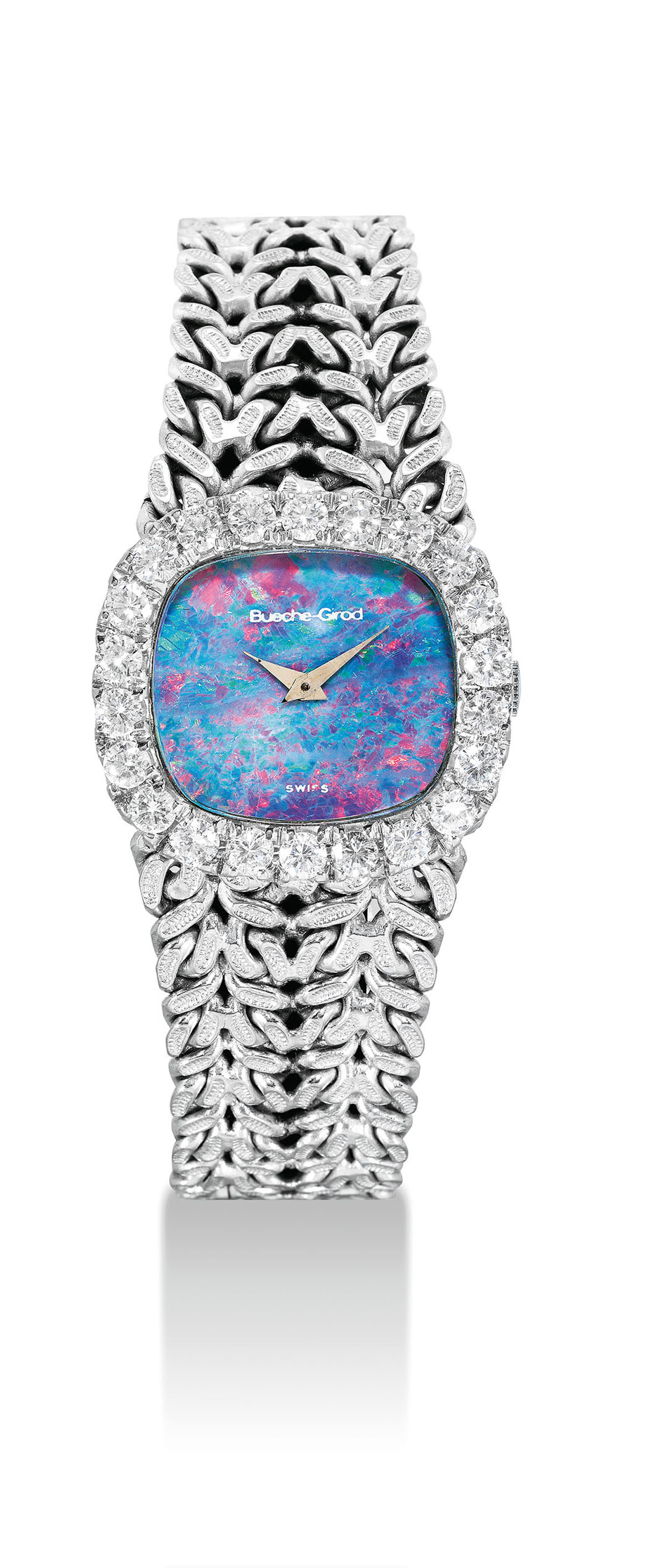 BUECHE-GIROD. AN 18K WHITE GOLD AND DIAMOND-SET CUSHION-SHAPED BRACELET WATCH WITH OPAL DIAL