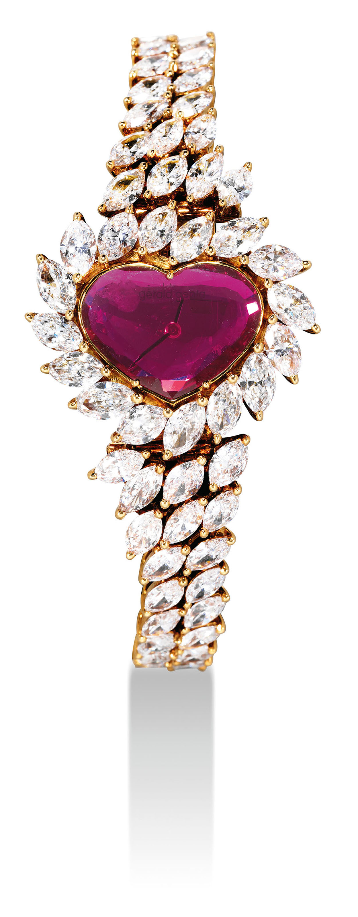 GERALD GENTA. A LADY'S FINE, VERY RARE AND UNIQUE 18K GOLD, DIAMOND AND RUBY-SET HEART-SHAPED BRACELET WATCH