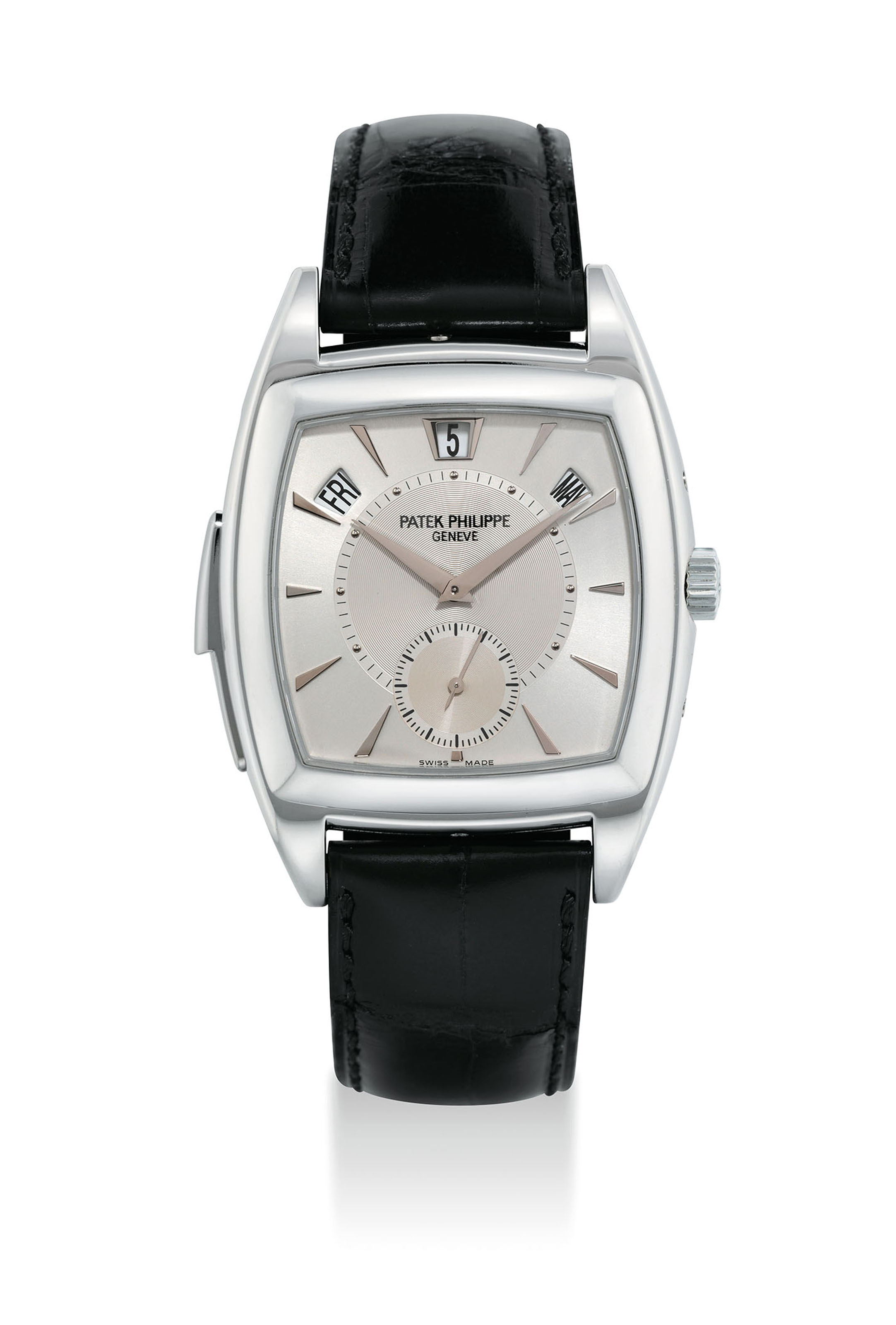 PATEK PHILIPPE. A VERY FINE AND RARE PLATINUM TONNEAU-SHAPED AUTOMATIC MINUTE REPEATING ANNUAL CALENDAR WRISTWATCH WITH ORIGINAL CERTIFICATE, ADDITIONAL CASE BACK AND BOX