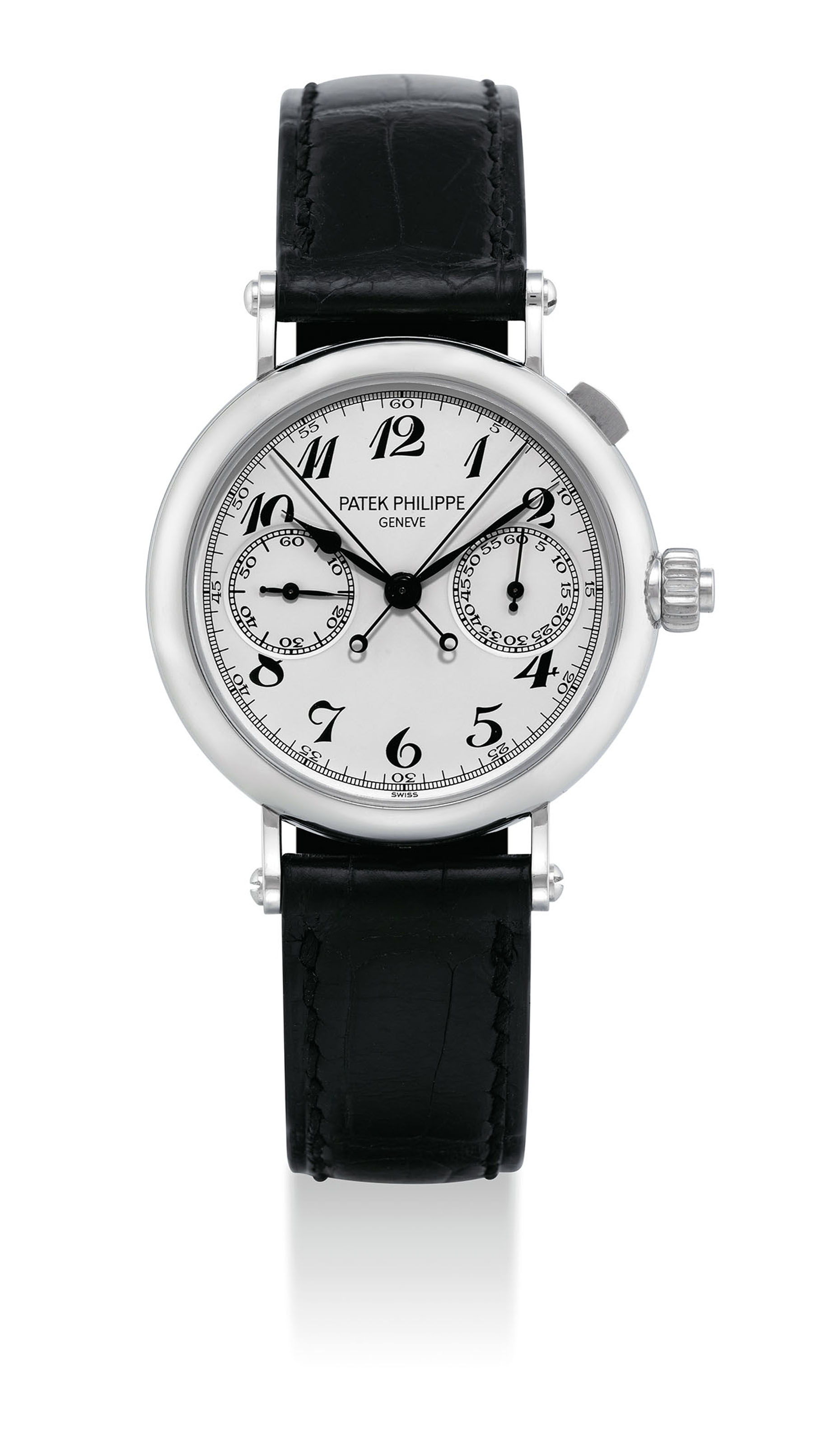 PATEK PHILIPPE. A VERY FINE AND VERY RARE PLATINUM SPLIT SECONDS CHRONOGRAPH WRISTWATCH WITH ORIGINAL CERTIFICATE AND BOX