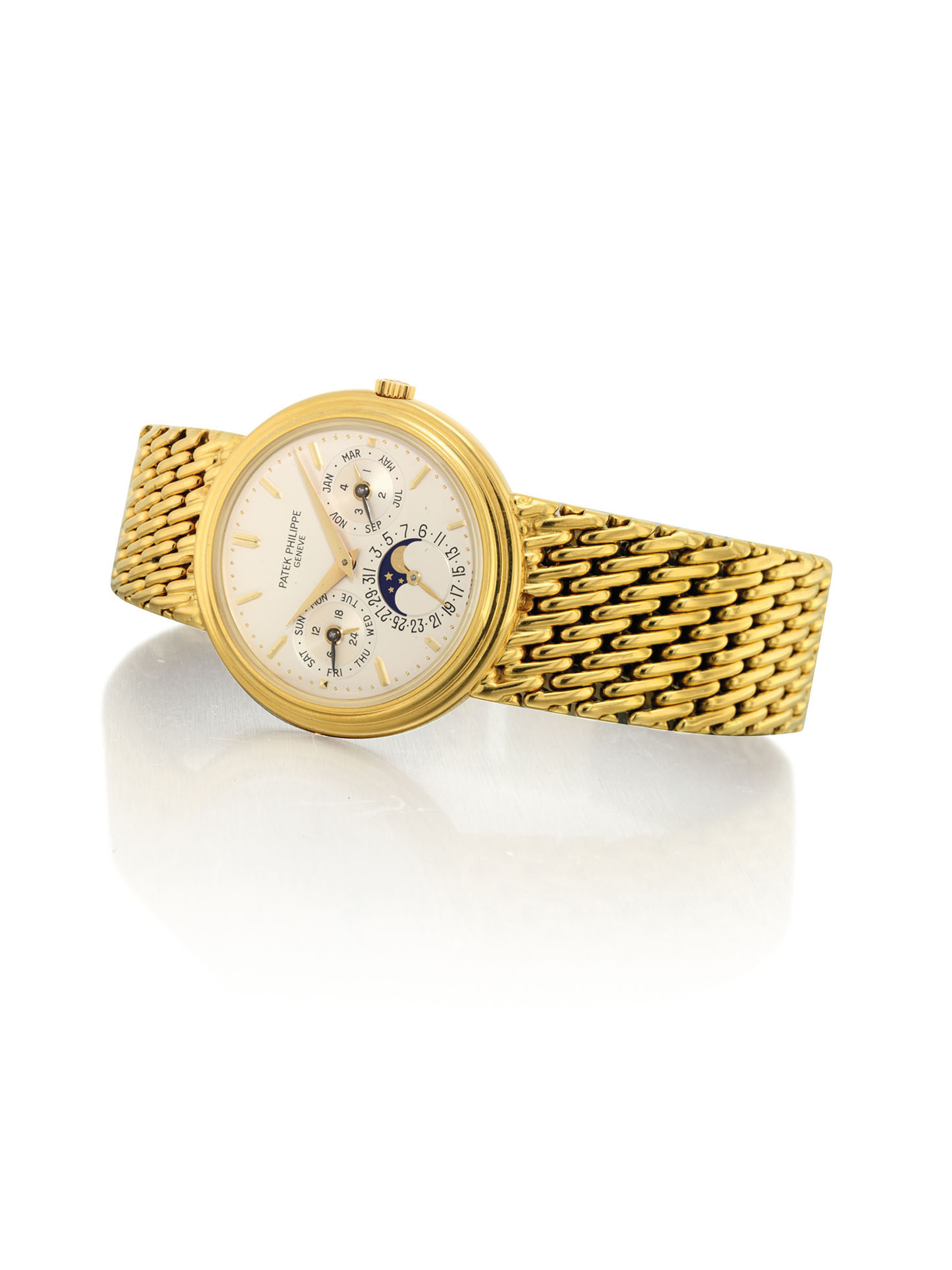 PATEK PHILIPPE. A FINE 18K GOLD AUTOMATIC PERPETUAL CALENDAR BRACELET WATCH WITH MOON PHASES, 24 HOUR AND LEAP YEAR INDICATION