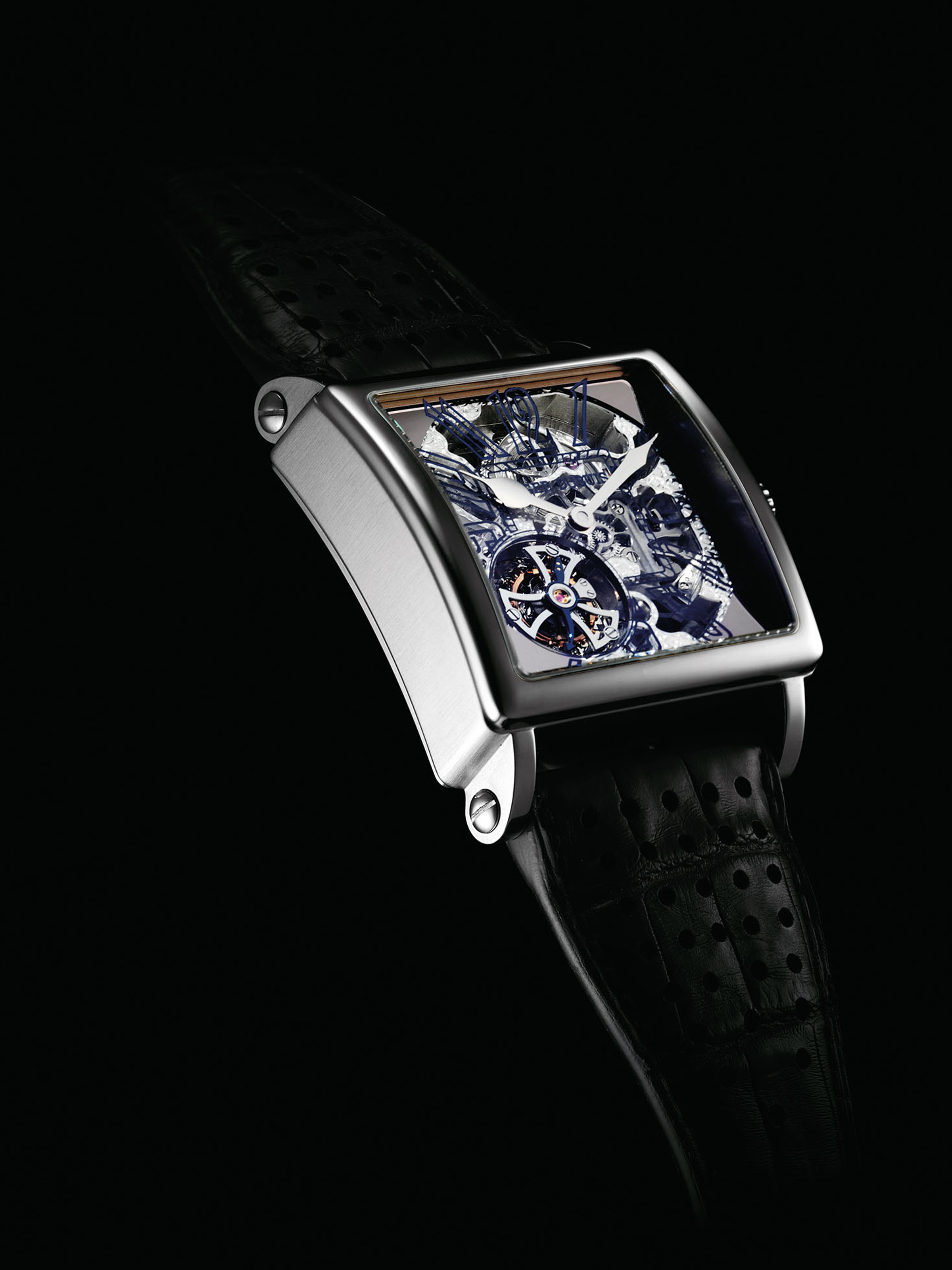ROGER DUBUIS. A FINE, VERY RARE AND LARGE 18K WHITE GOLD LIMITED EDITION SKELETONISED SQUARE TOURBILLON WRISTWATCH