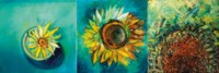 Sunflowers with Blue Blackground - a triptych