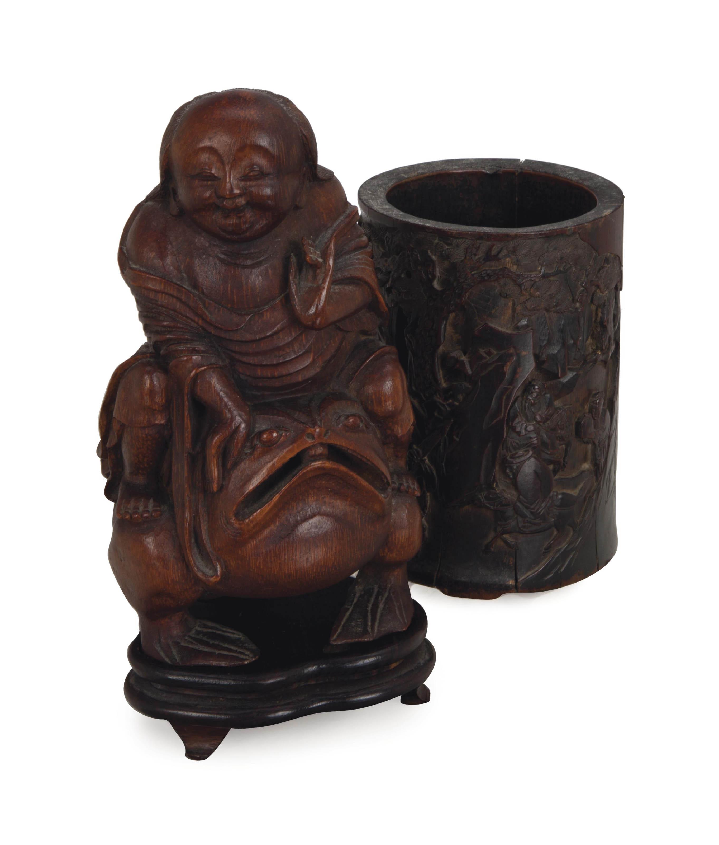 A CHINESE HARDWOOD BRUSH POT, AND A BAMBOO CARVING OF LIU HAI AND HIS THREE-LEGGED TOAD,