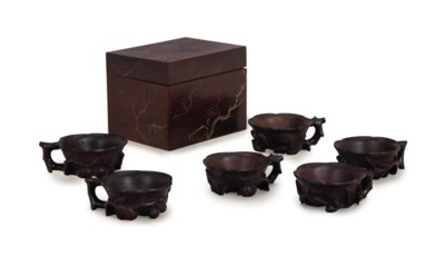 A SET OF SIX CHINESE ZITAN CUP