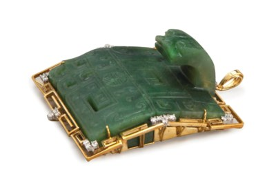 A GOLD AND GEMSTONE MOUNTED CH