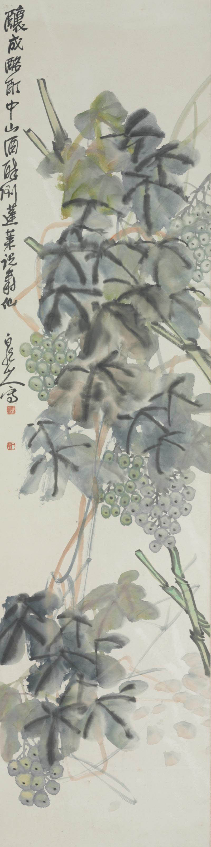A CHINESE HANGING SCROLL OF GRAPES,