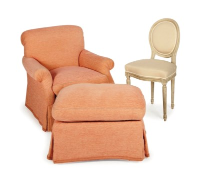 A ROSE CHENILLE-UPHOLSTERED CL