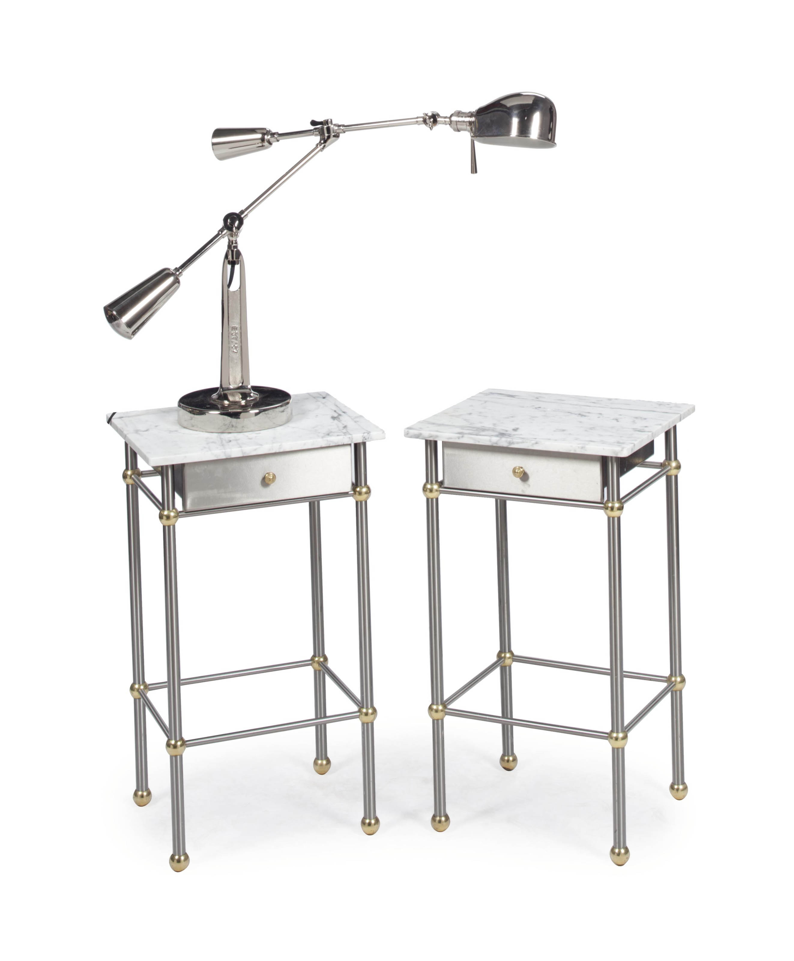 Modern Pair Of Lamp Table Bedside End Side Tables Solid: A PAIR OF STEEL, BRASS AND MARBLE-TOP BEDSIDE TABLES WITH