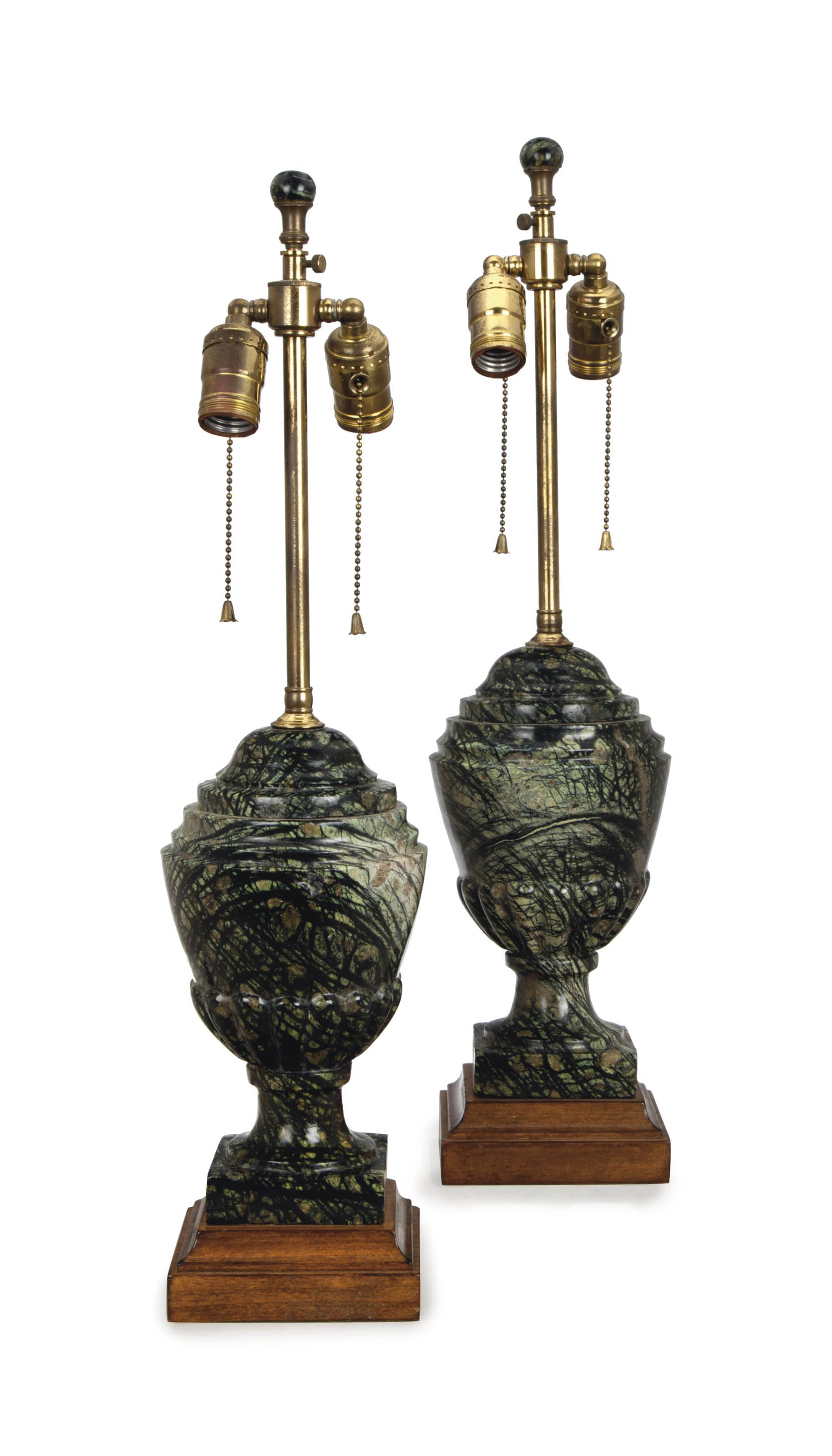 A PAIR OF VARIEGATED GREEN AND BLACK SCAGLIOLA COVERED URNS MOUNTED AS TABLE LAMPS,