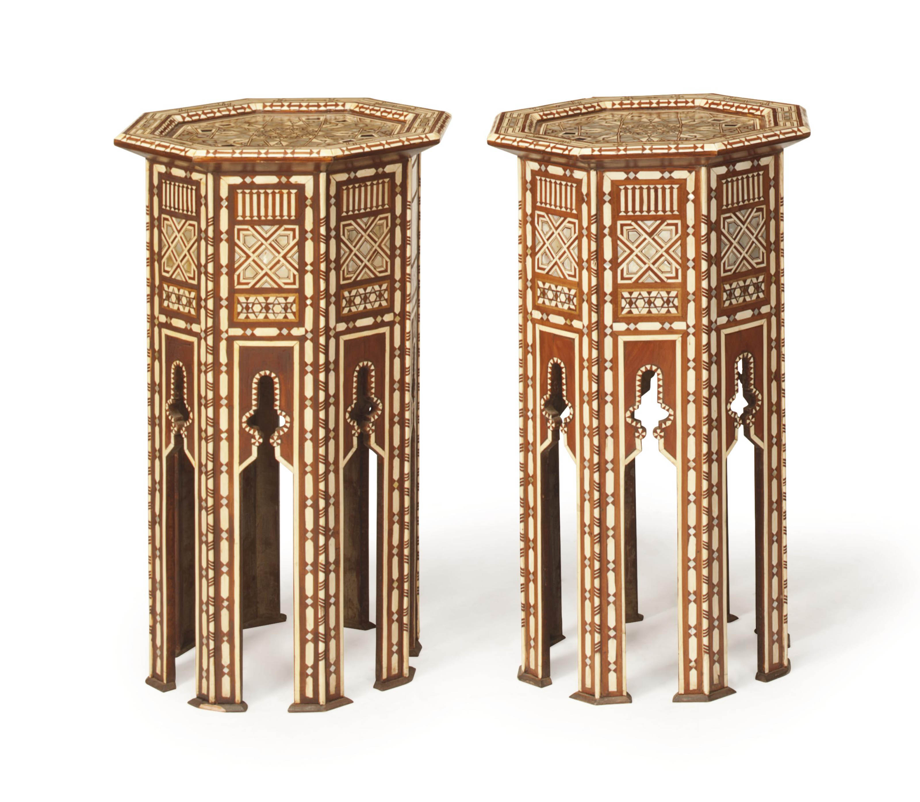 A PAIR OF SYRIAN BONE AND MOTHER-OF-PEARL-INLAID OCTAGONAL