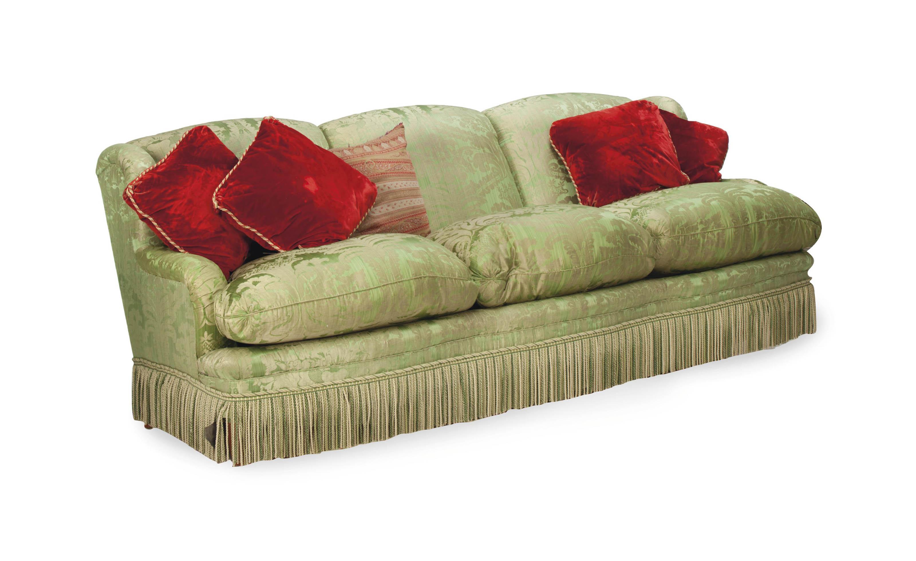 A Green Silk Brocade Upholstered Three Seat Sofa Modern