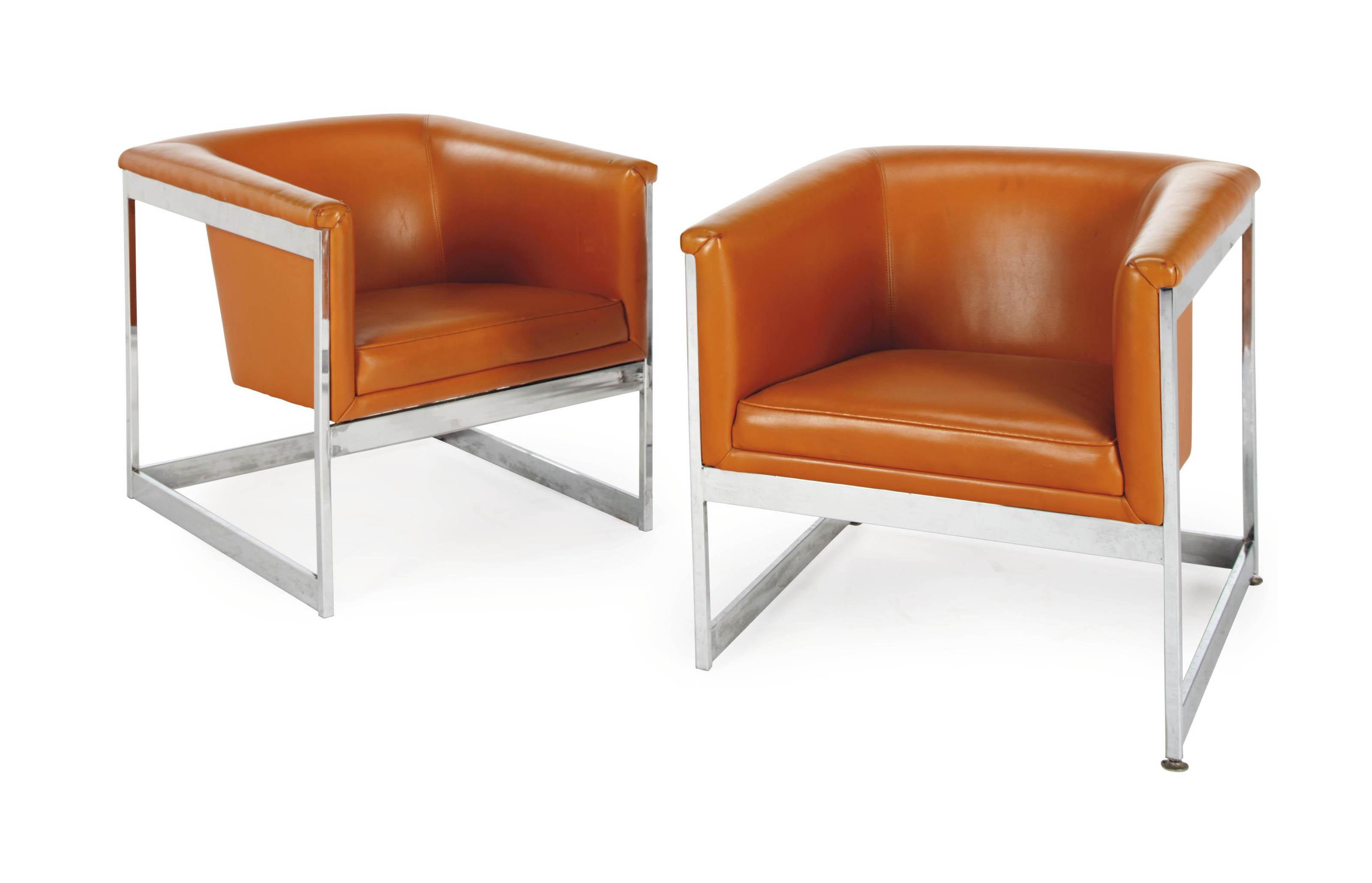 Terrific A Pair Of Orange Leather And Silver Metal Club Chairs Machost Co Dining Chair Design Ideas Machostcouk