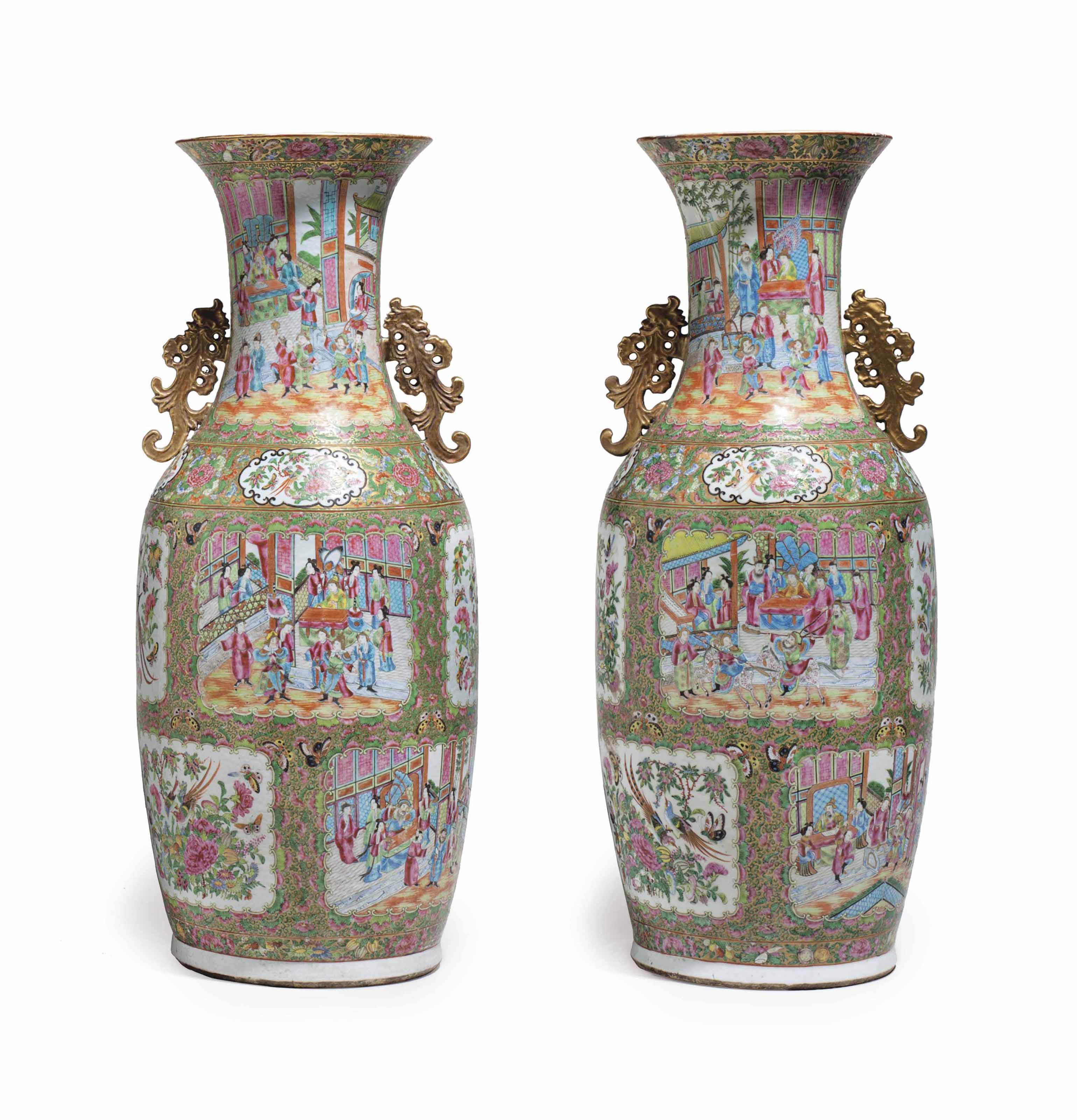 A VERY LARGE PAIR OF CHINESE EXPORT 'CANTON FAMILLE ROSE' VASES