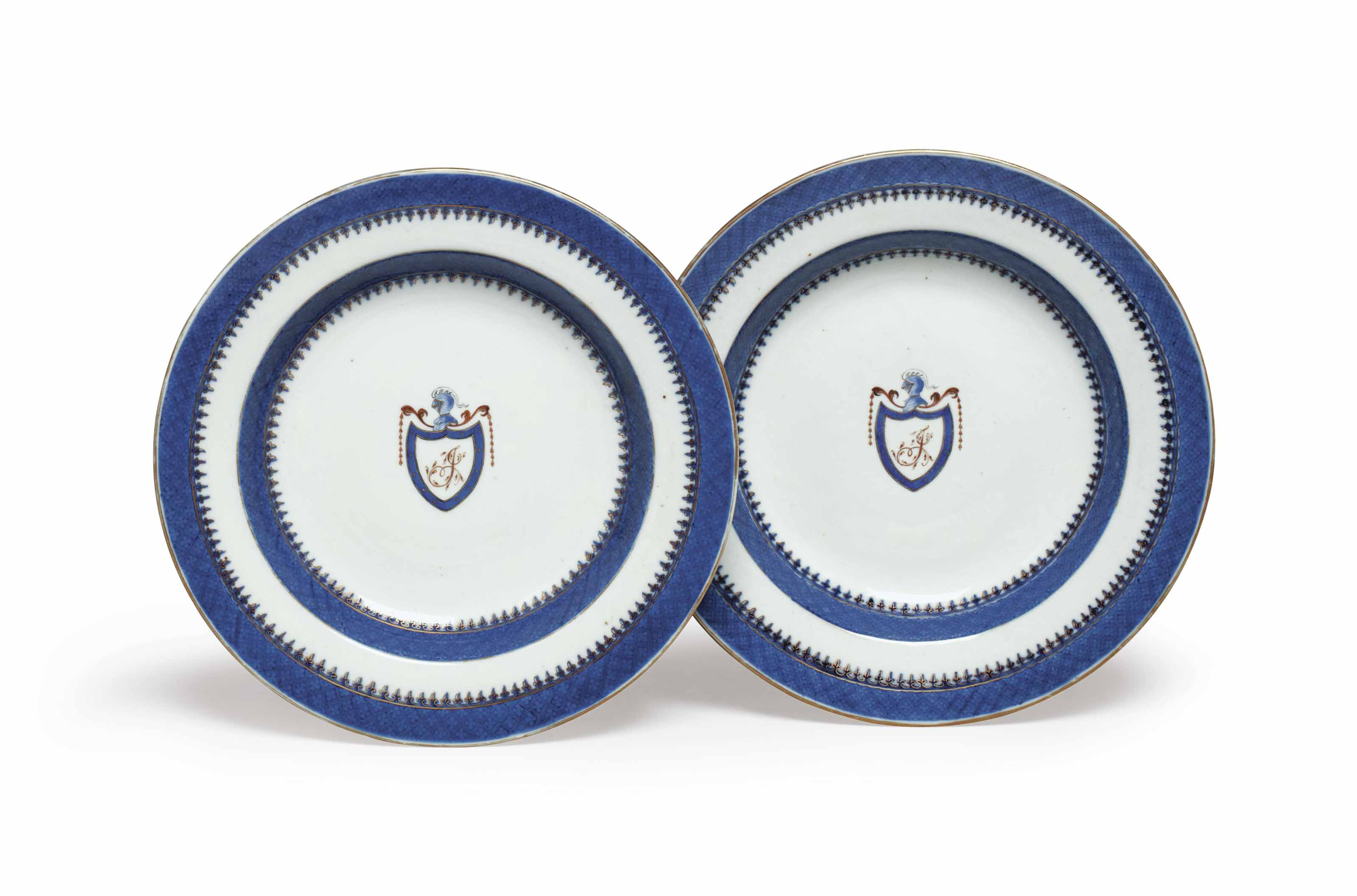 A Pair Of Chinese Export American Market Initialed Soup Plates